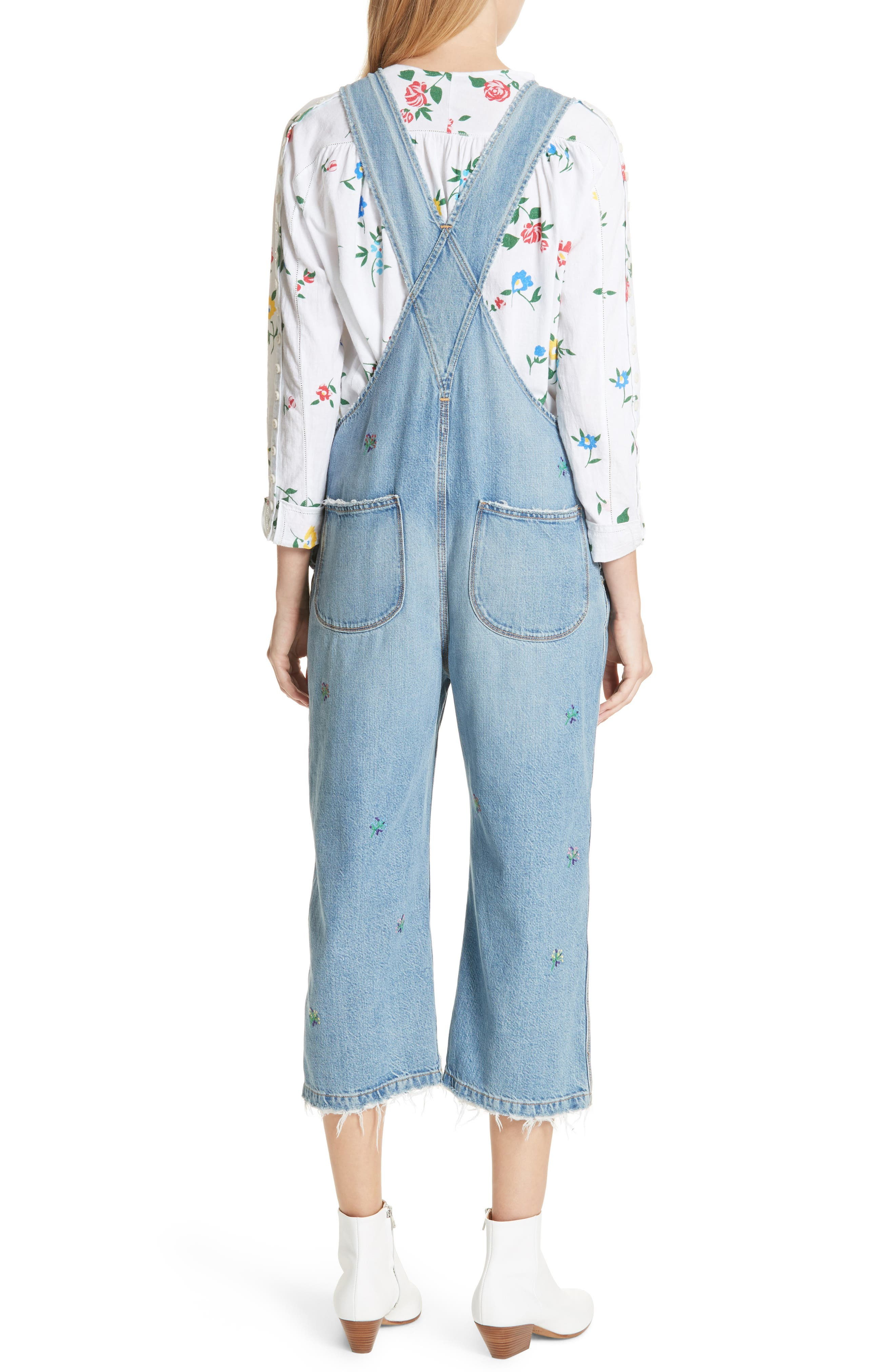 The Shop Embroidered Overalls,                             Alternate thumbnail 3, color,                             Canteen Wash W/ Flower Emb