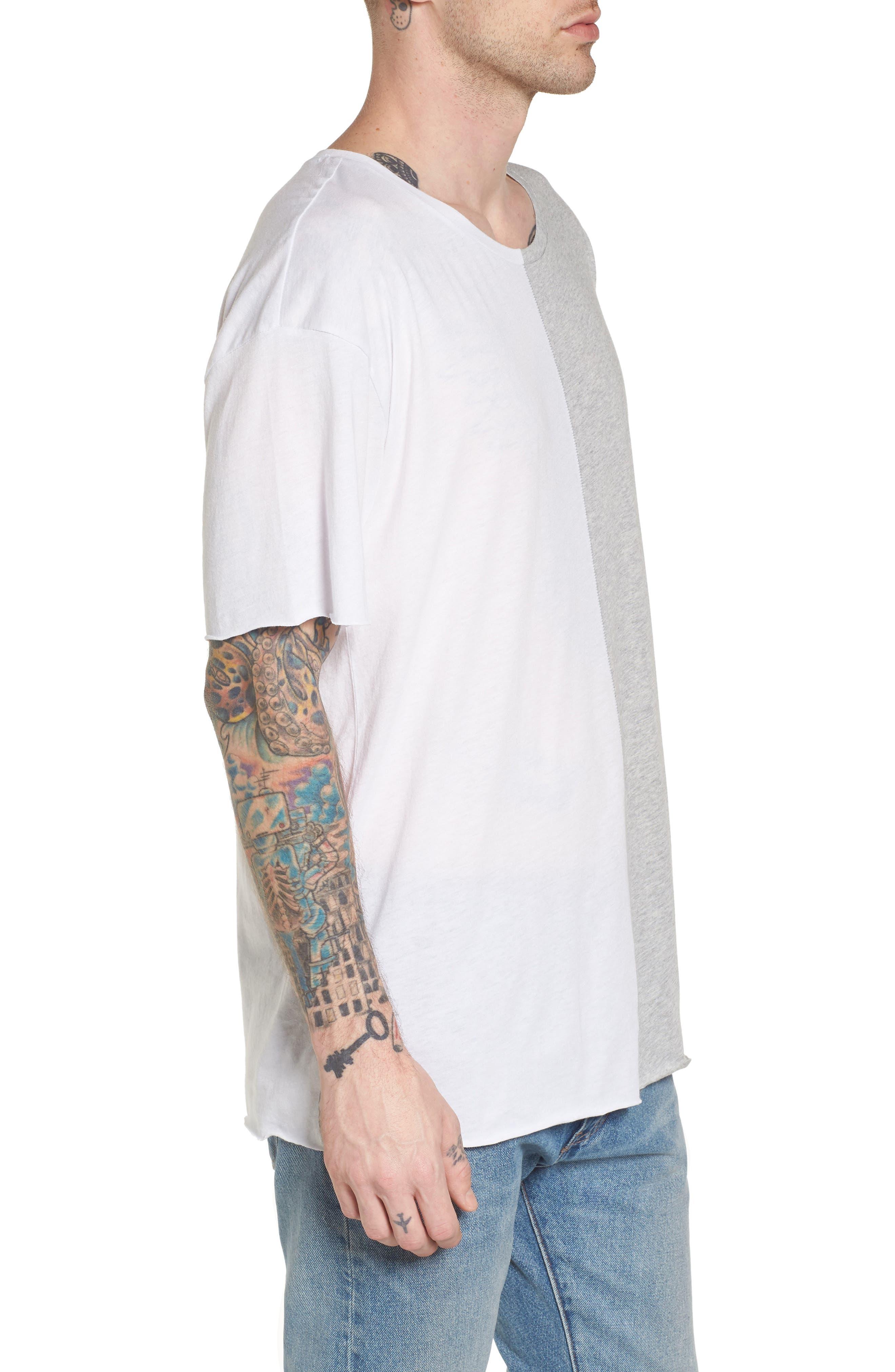 Boxy Splice T-Shirt,                             Alternate thumbnail 3, color,                             White/ Grey Heather