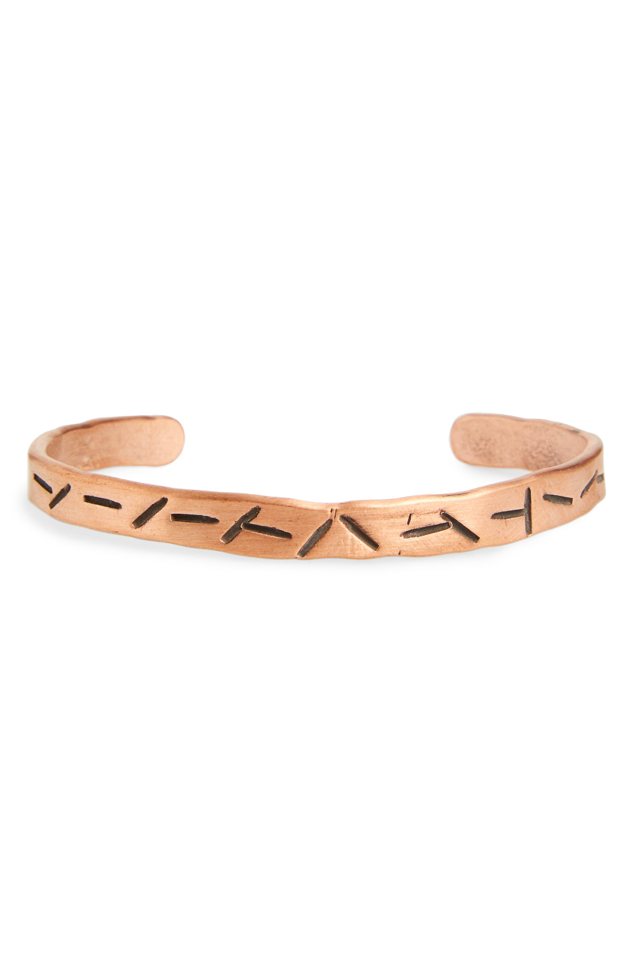 Cause & Effect Slash Copper Cuff Bracelet,                             Main thumbnail 1, color,                             Copper