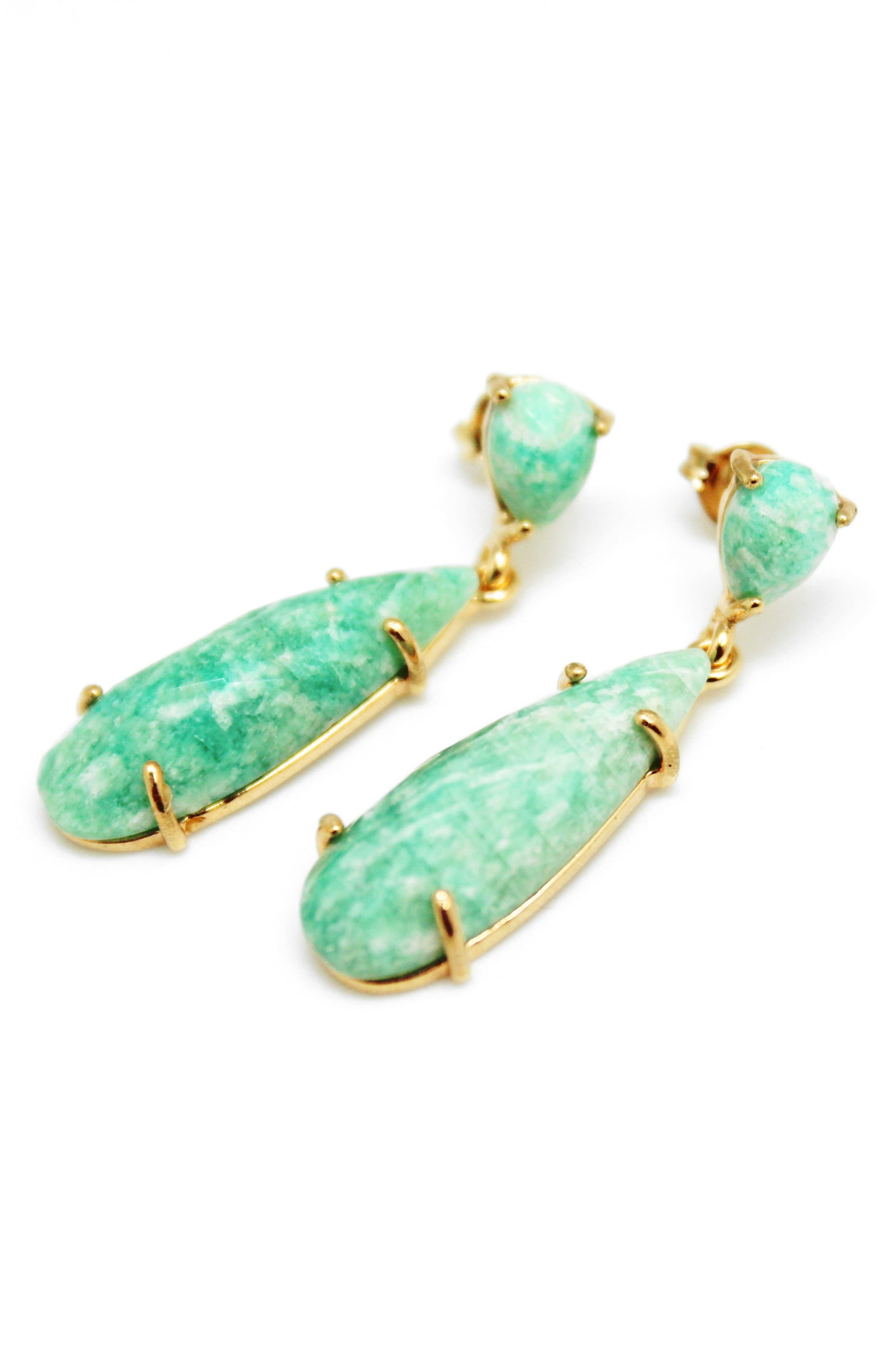 Long Facet Stone Drop Earrings,                         Main,                         color, Aqua