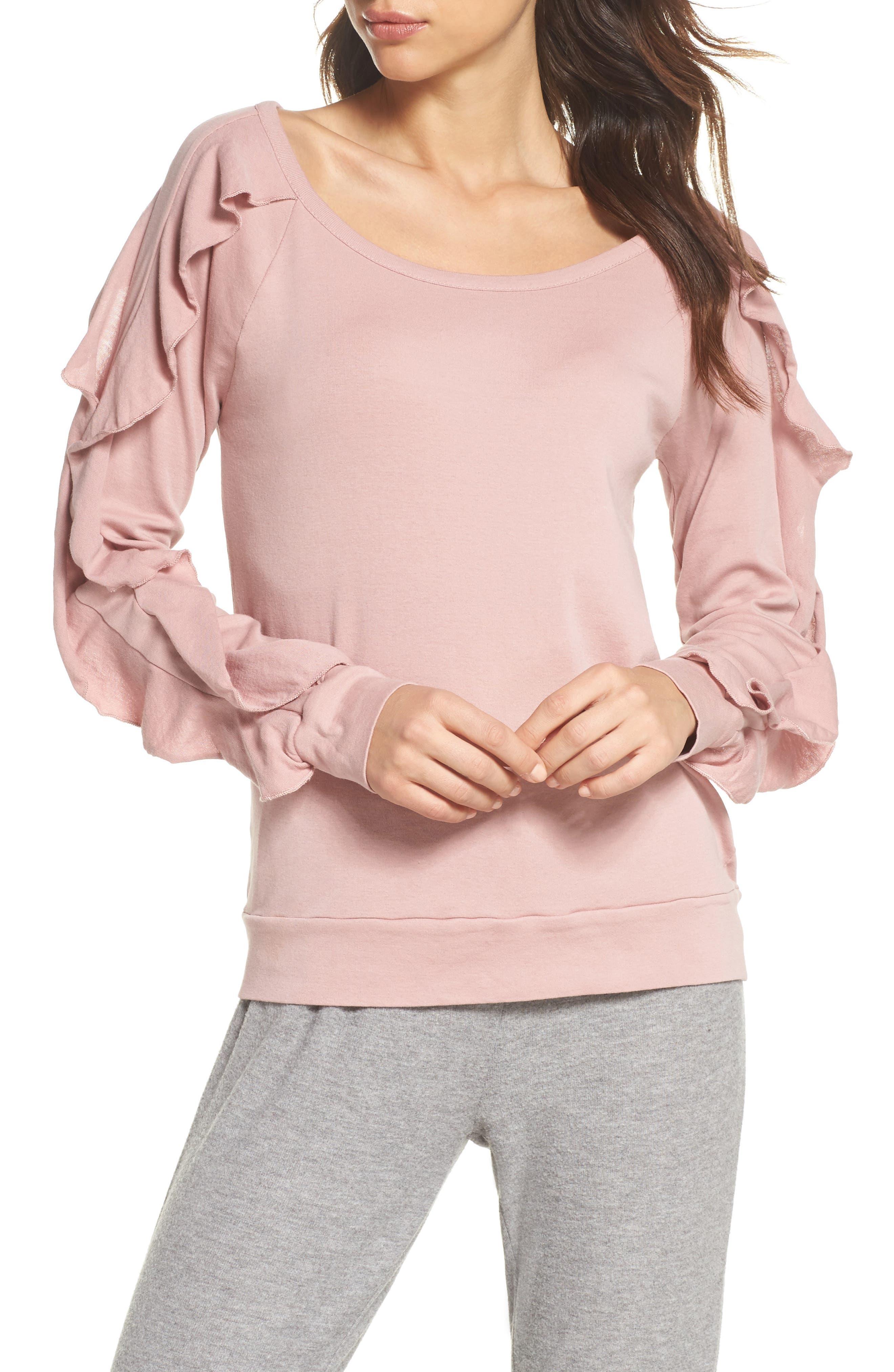 Ruffle Sleeve Sweatshirt,                         Main,                         color, Antique Rose