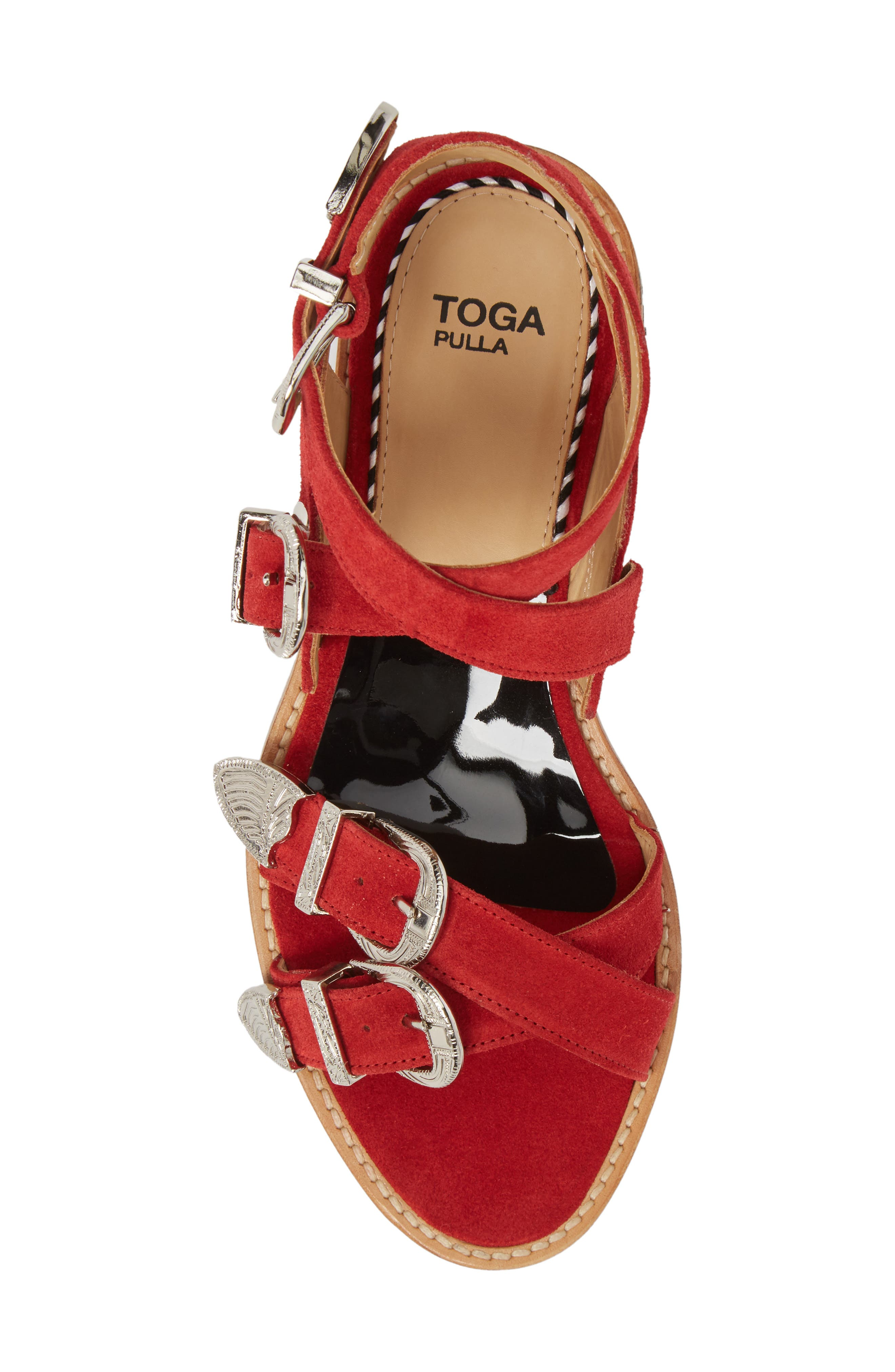 Western Suede Strappy Sandal,                             Alternate thumbnail 5, color,                             Red Suede