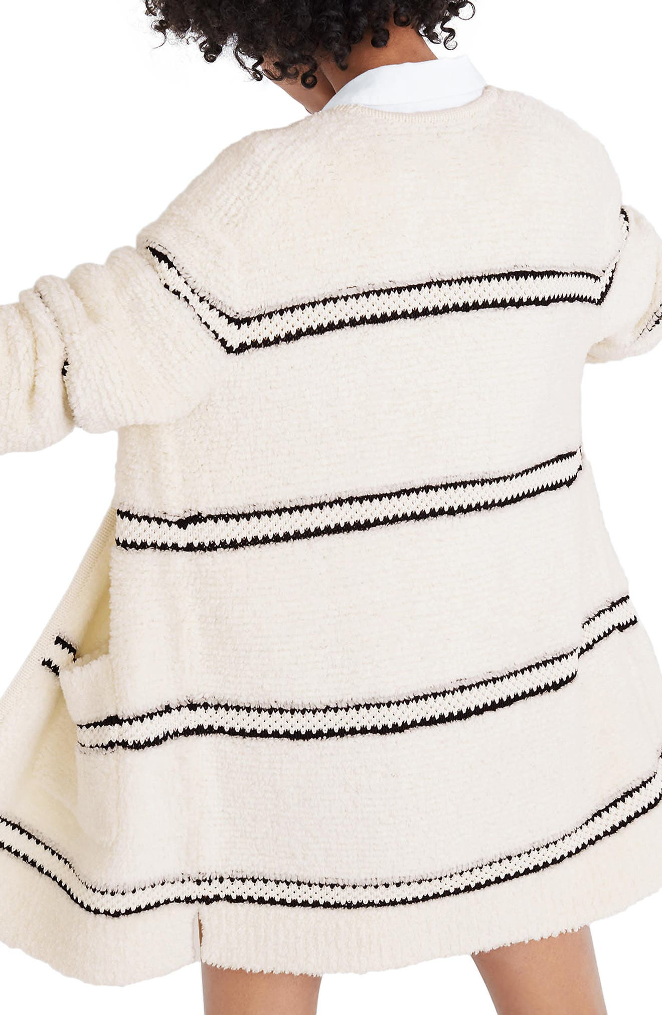 Stripe Bouclé Cardigan Sweater,                             Alternate thumbnail 2, color,                             Bright Ivory