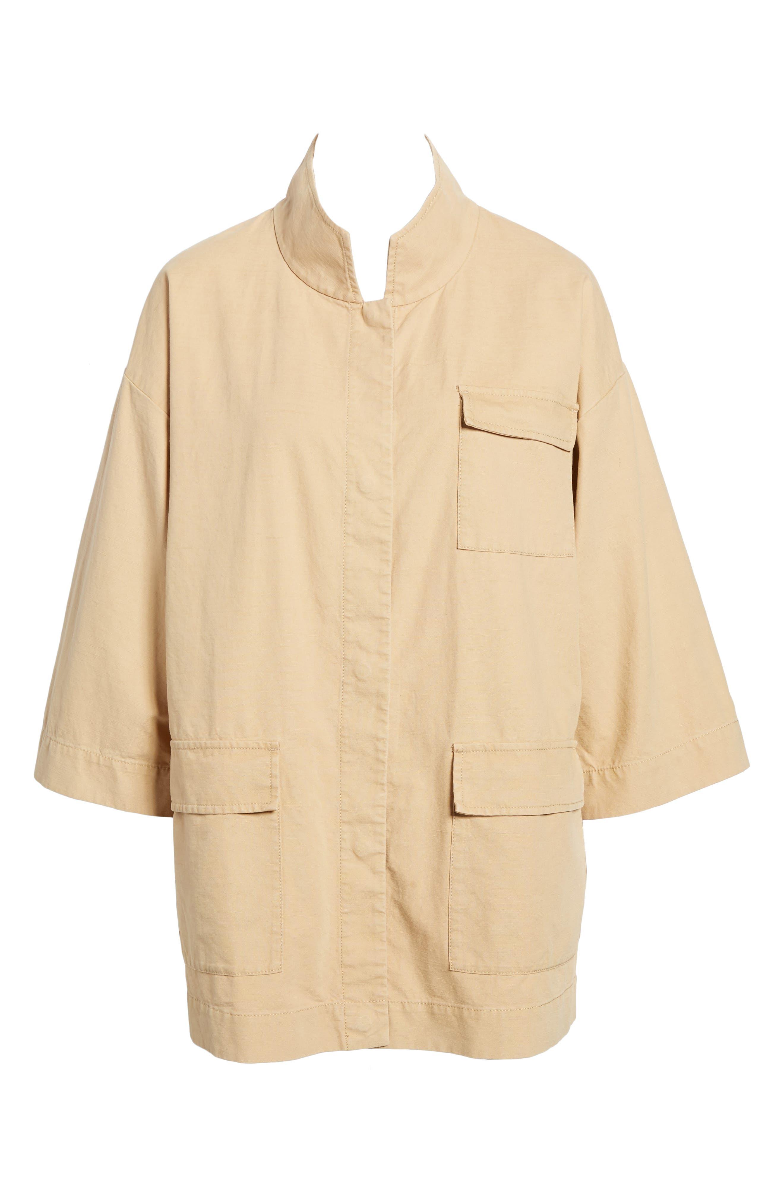 Organic Cotton & Hemp Jacket,                             Alternate thumbnail 6, color,                             Wheat