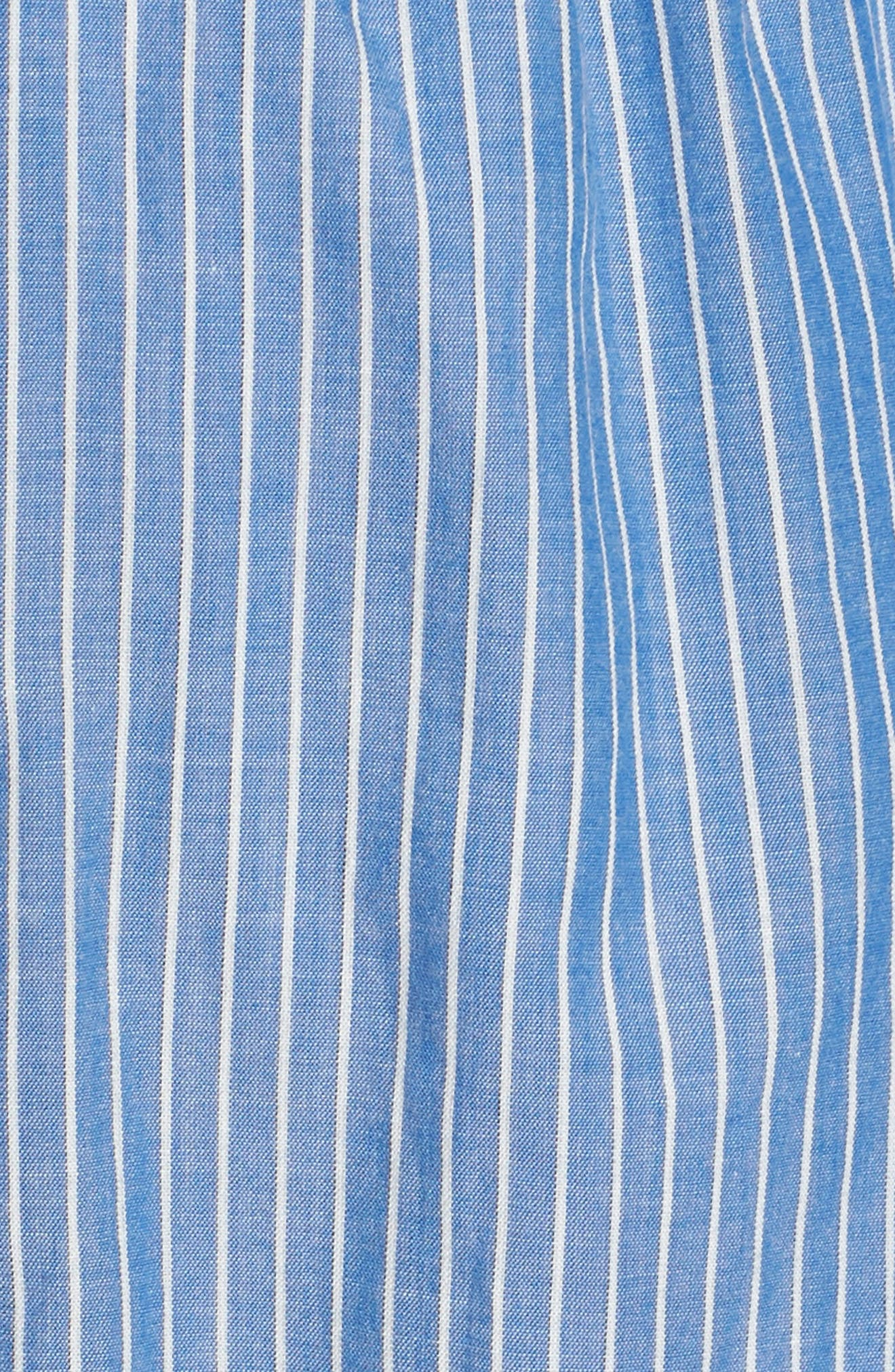 Embroidered Stripe Cotton Swing Dress,                             Alternate thumbnail 5, color,                             Yacht Blue