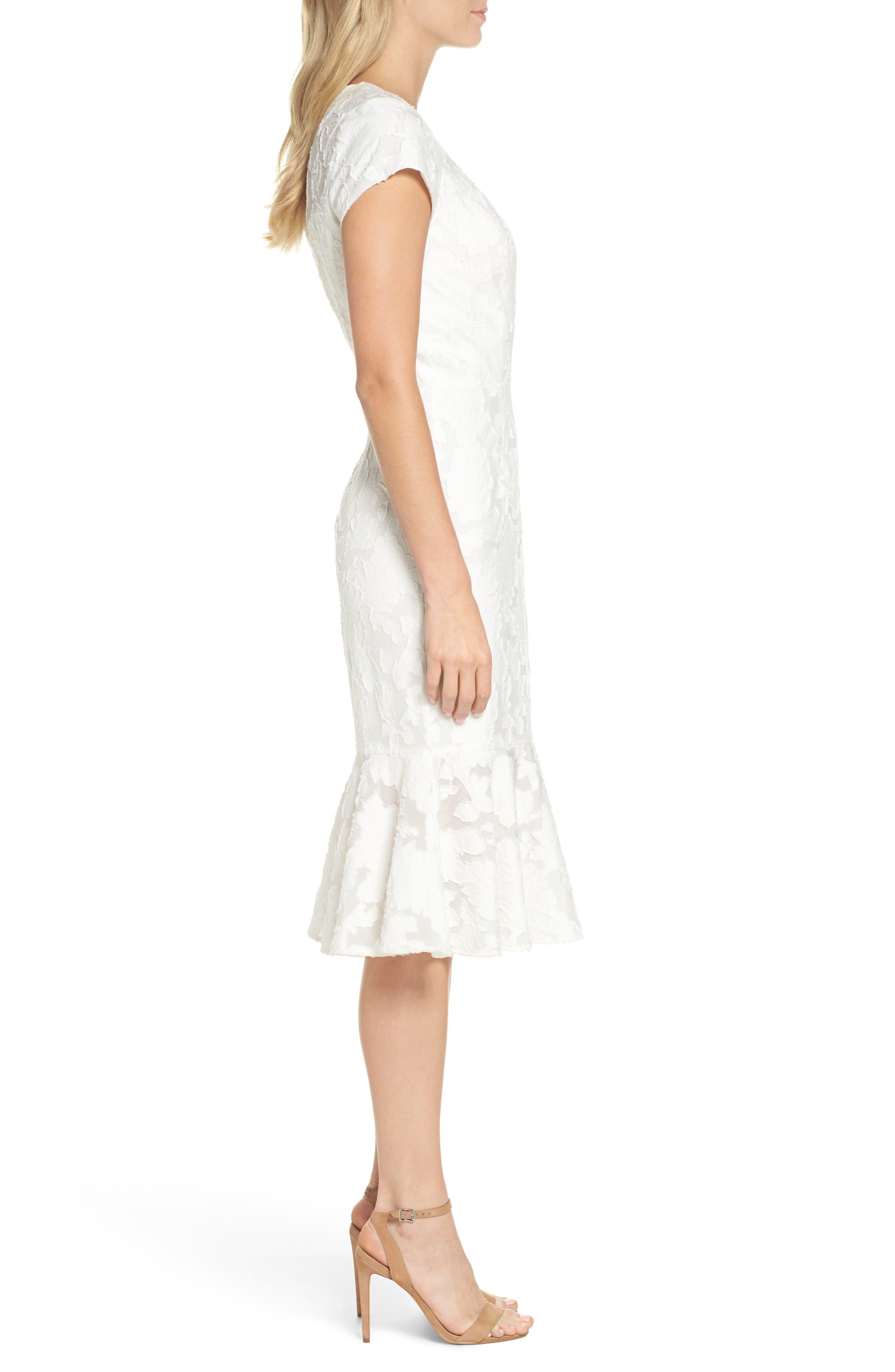 Lace Flare Hem Midi Dress,                             Alternate thumbnail 3, color,                             White