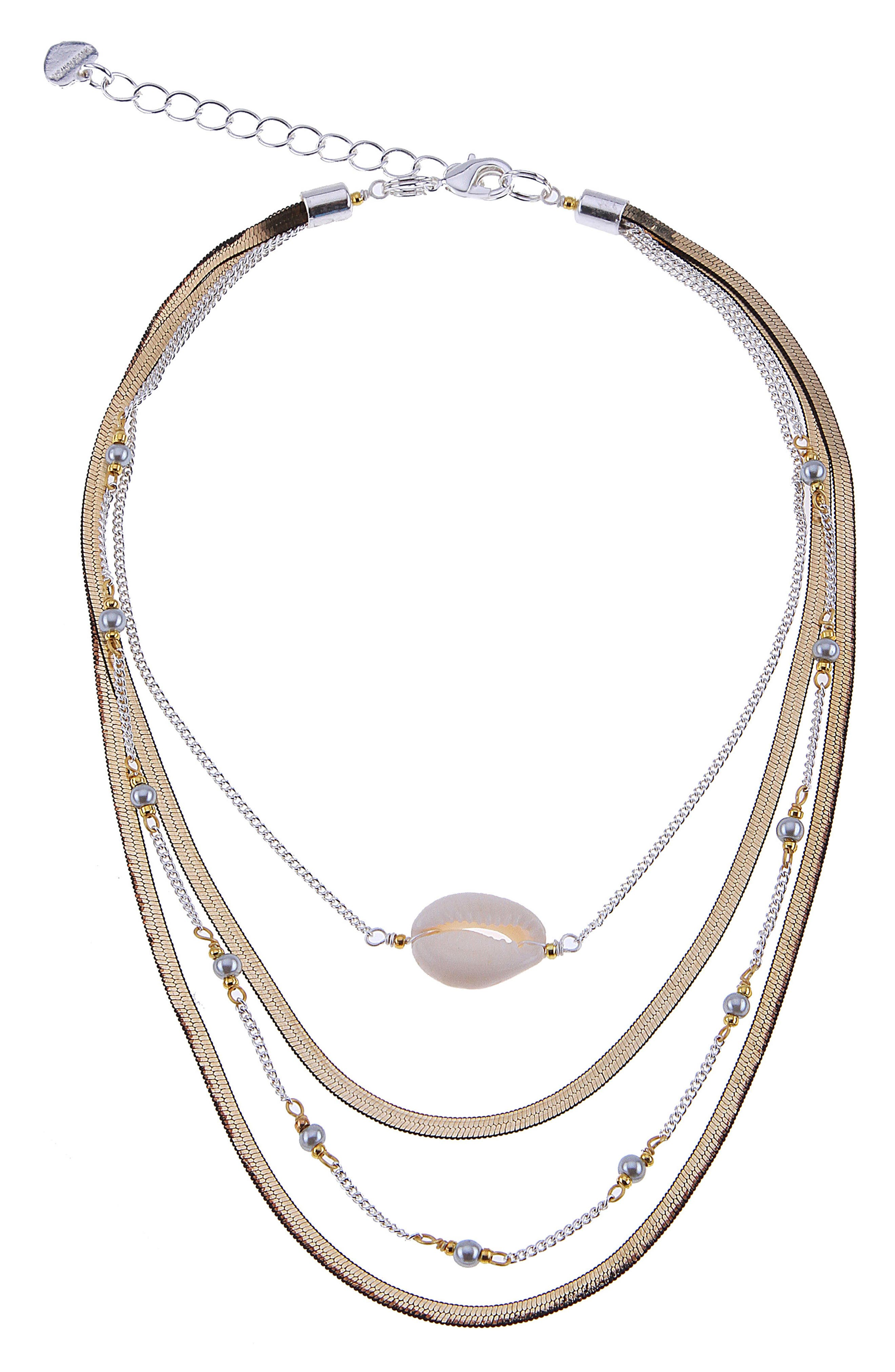 Layered Snake Chain Necklace,                         Main,                         color, White
