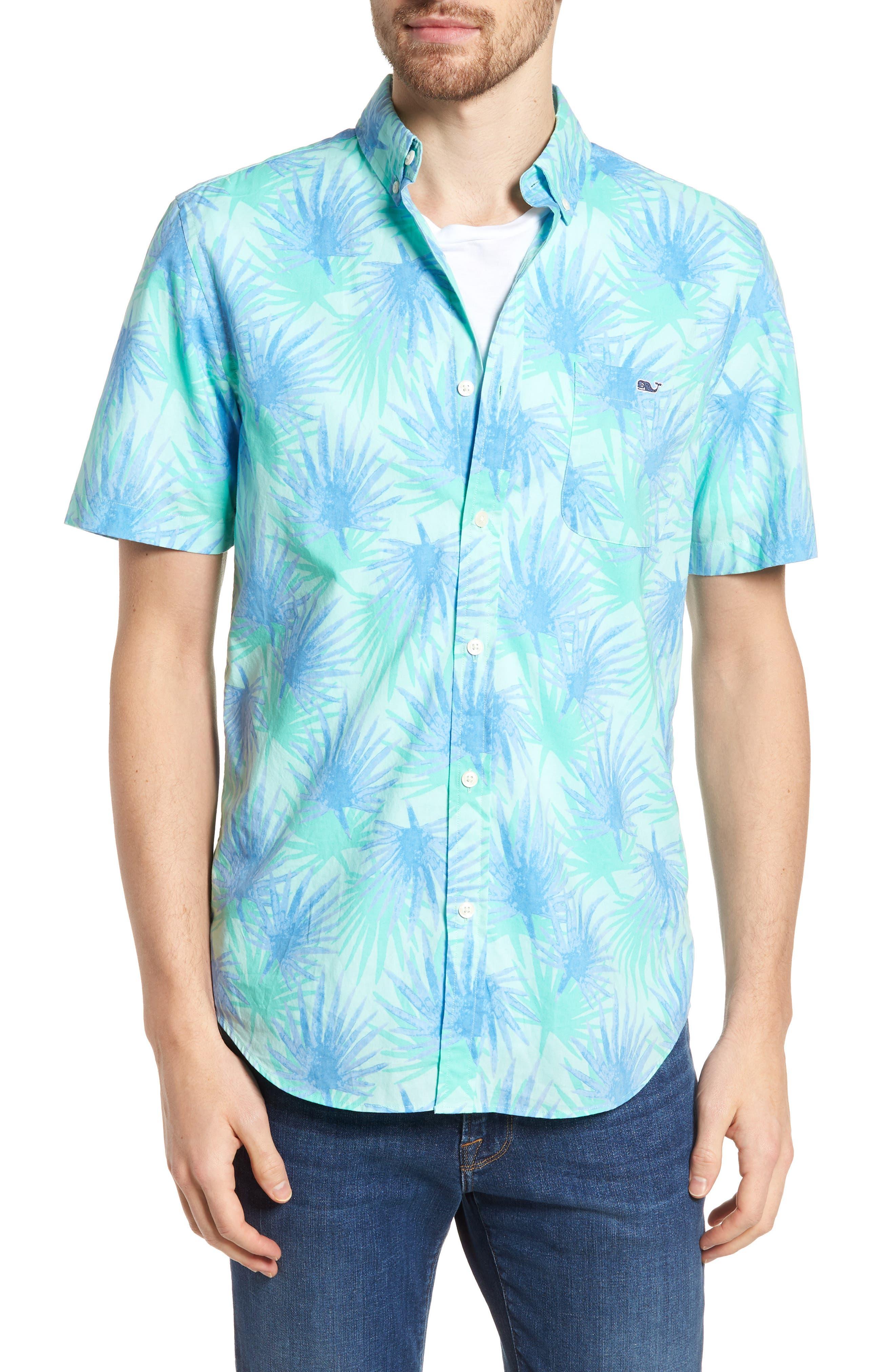 Electric Palm Slim Fit Print Short Sleeve Sport Shirt,                             Main thumbnail 1, color,                             Aquamarine