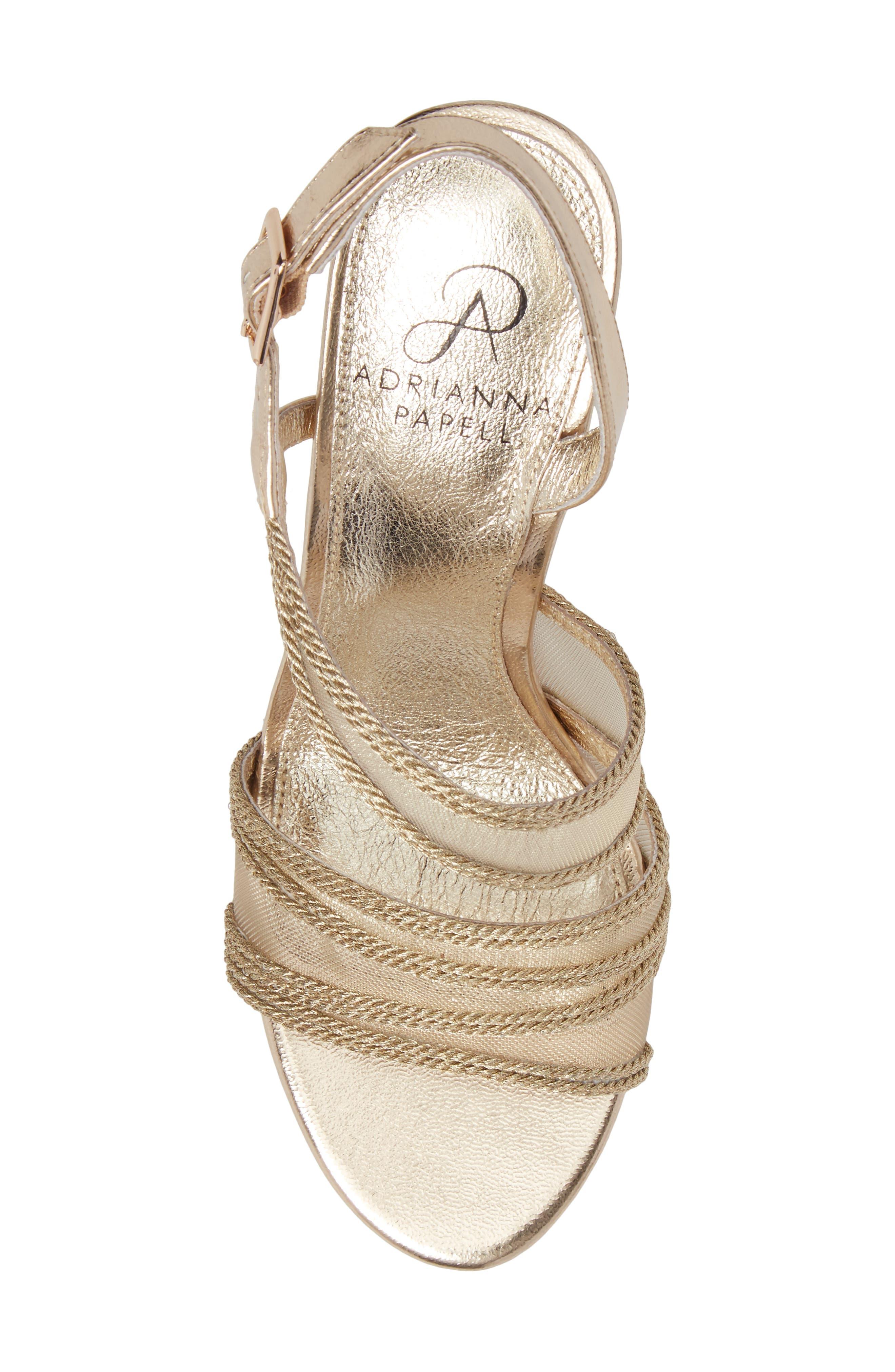 Adelphi Asymmetrical Mesh Sandal,                             Alternate thumbnail 5, color,                             Platinum Fabric