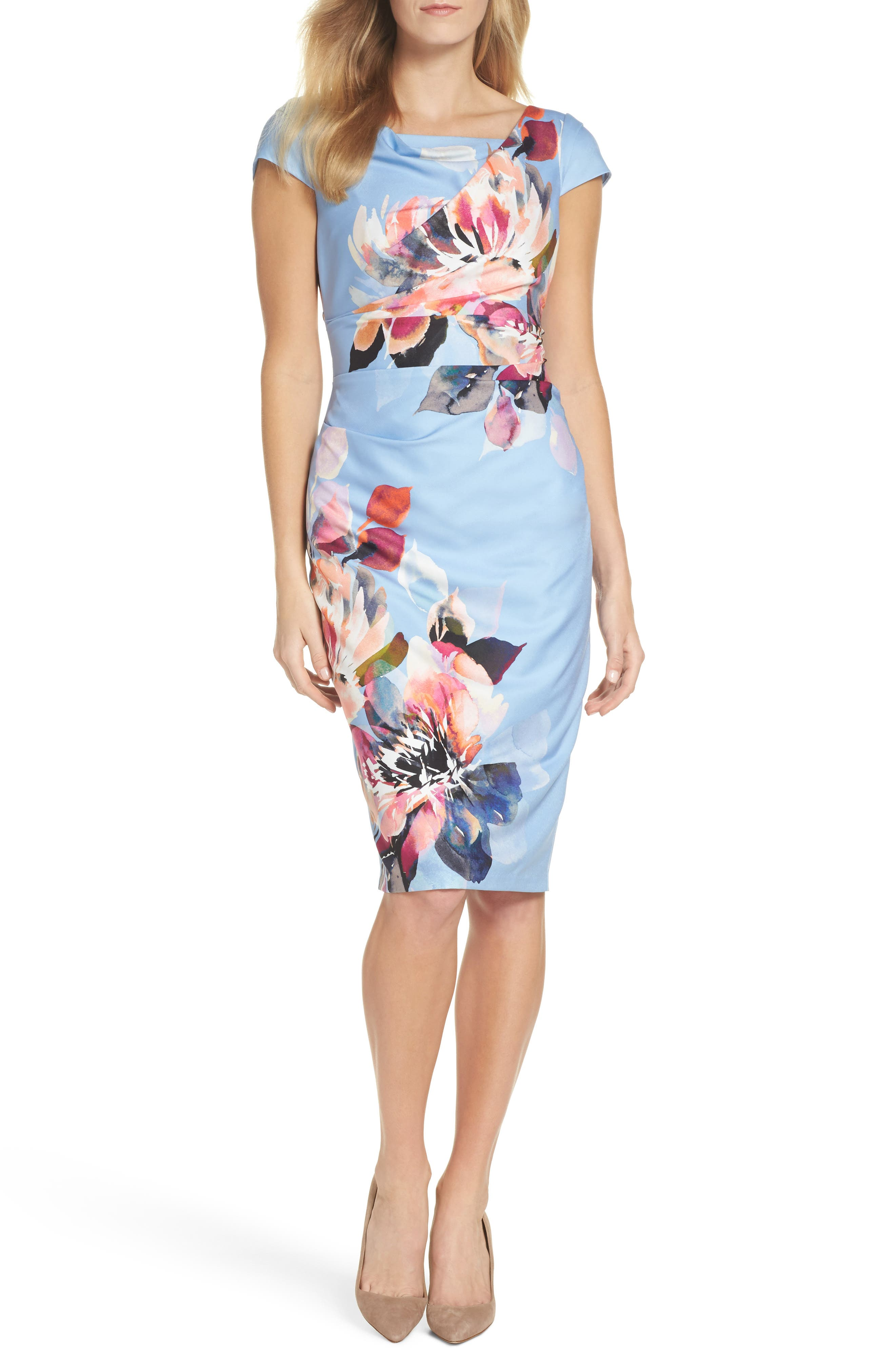 Main Image - Adrianna Papell Magnolia Cowl Neck Sheath Dress (Regular & Petite)