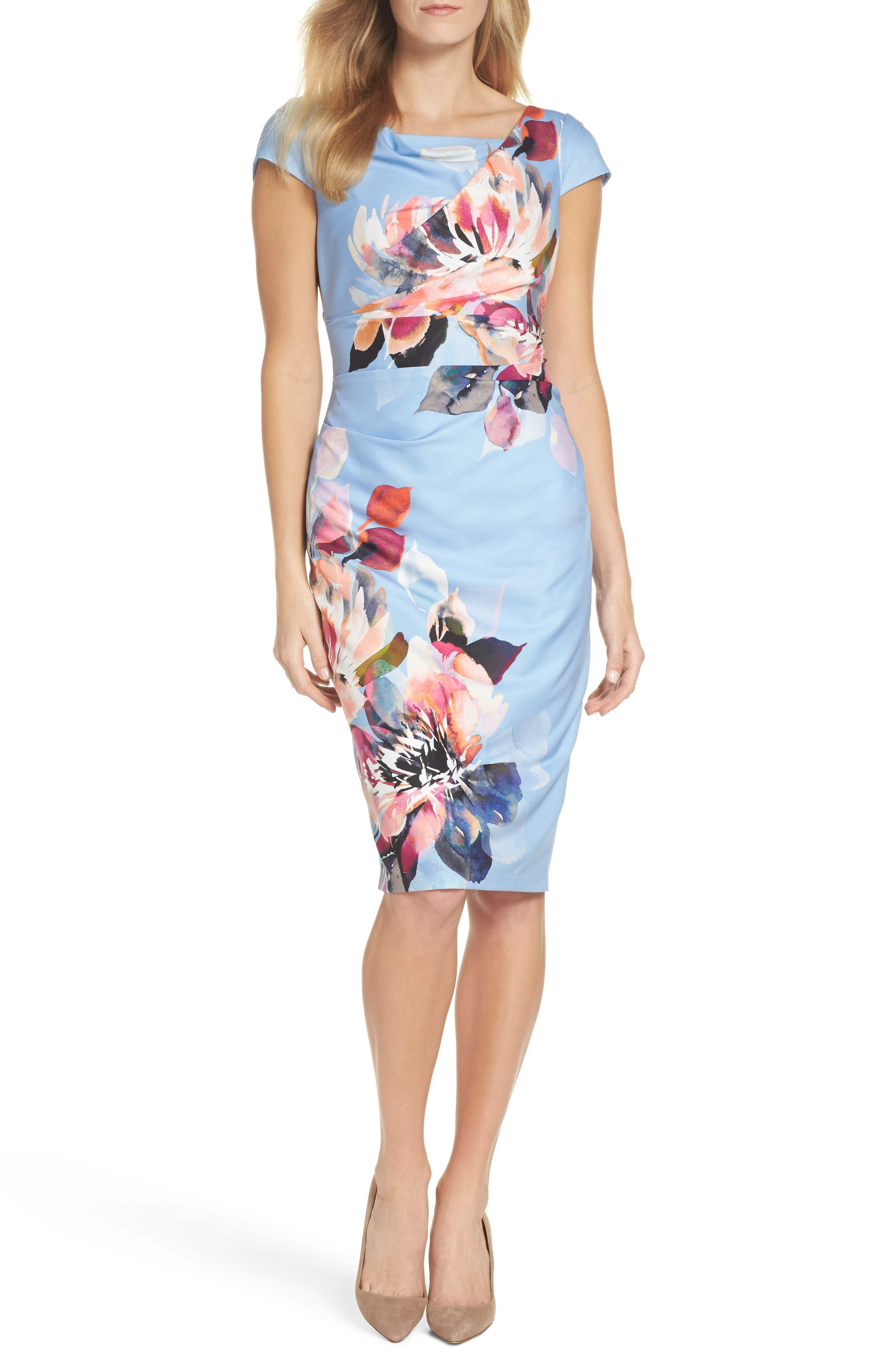 Magnolia Cowl Neck Sheath Dress,                         Main,                         color, Blue Multi