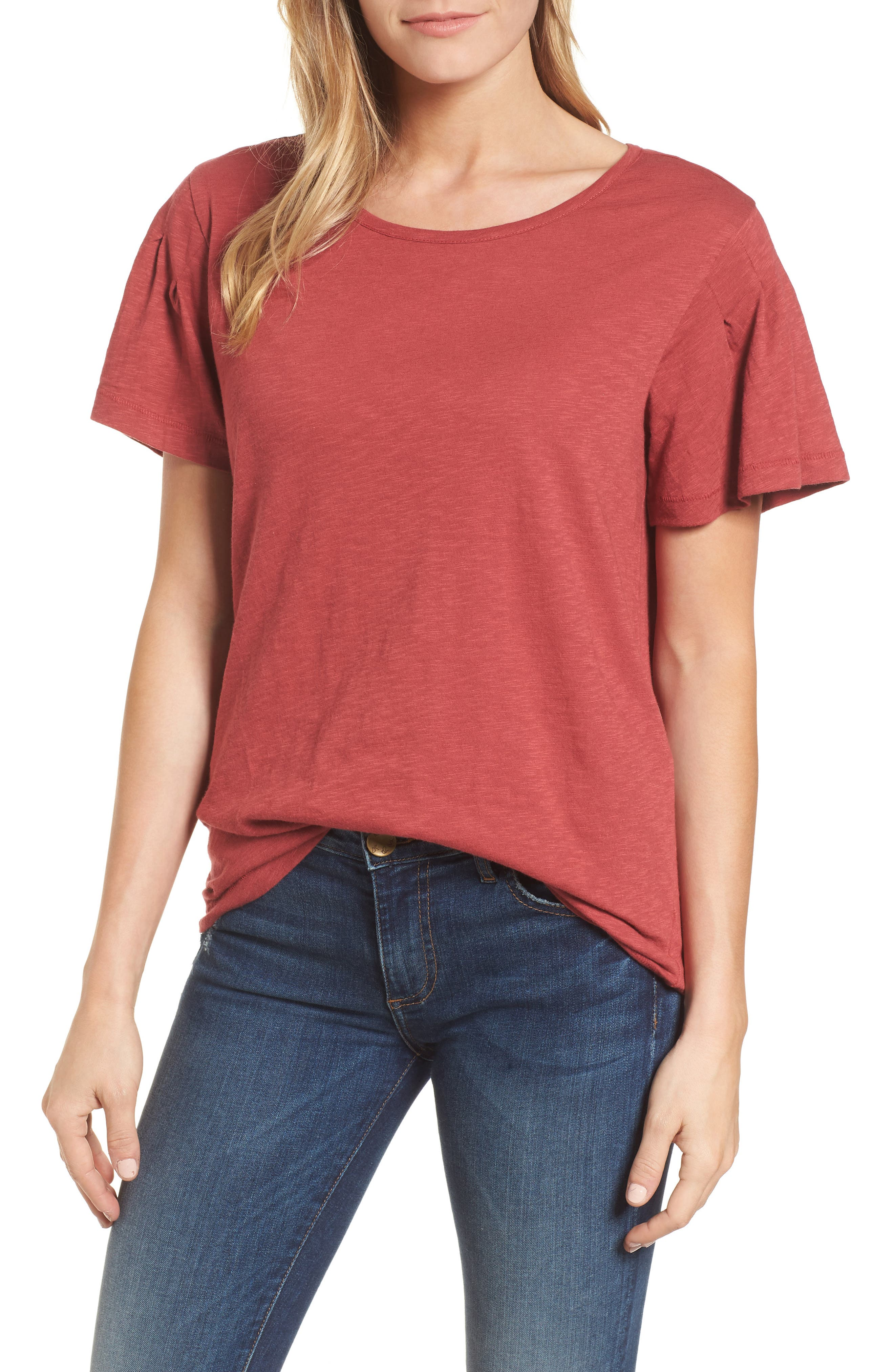 Pleat Sleeve Cotton Tee,                         Main,                         color, Red Earth