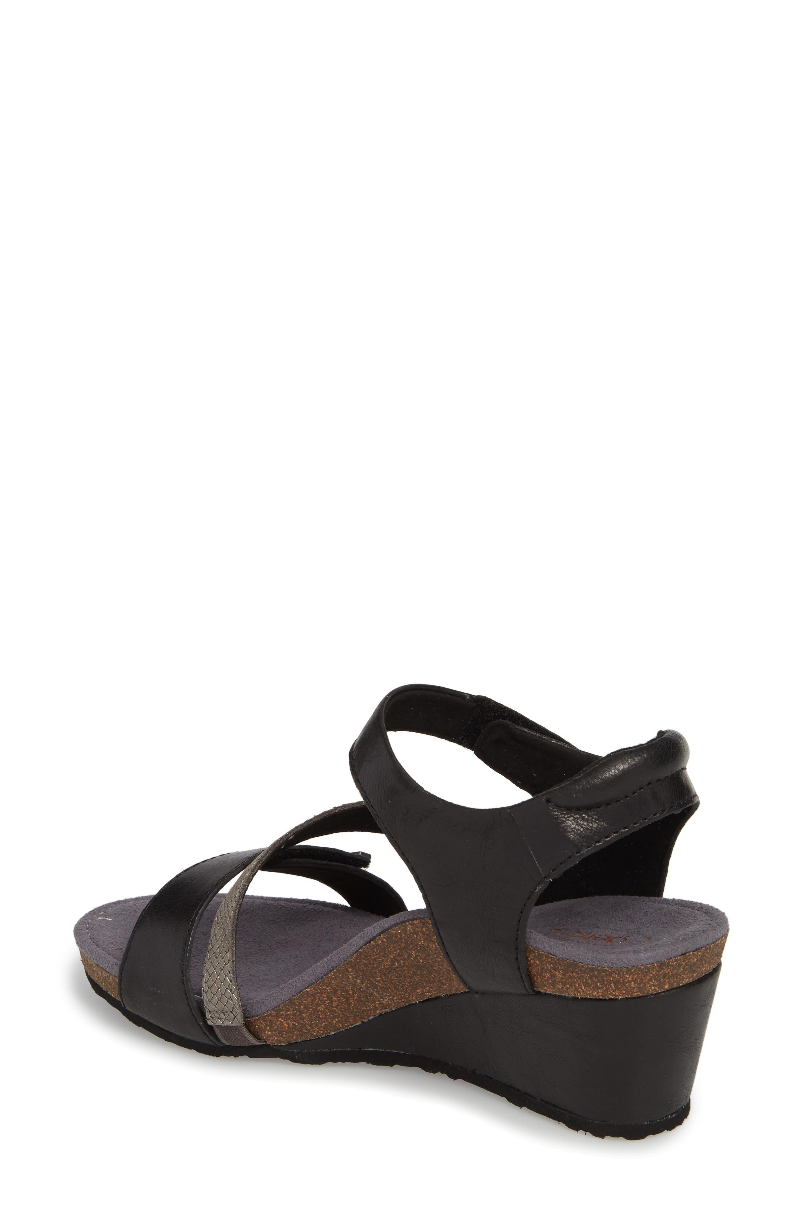 Brynn Asymmetrical Wedge Sandal,                             Alternate thumbnail 2, color,                             Black Leather