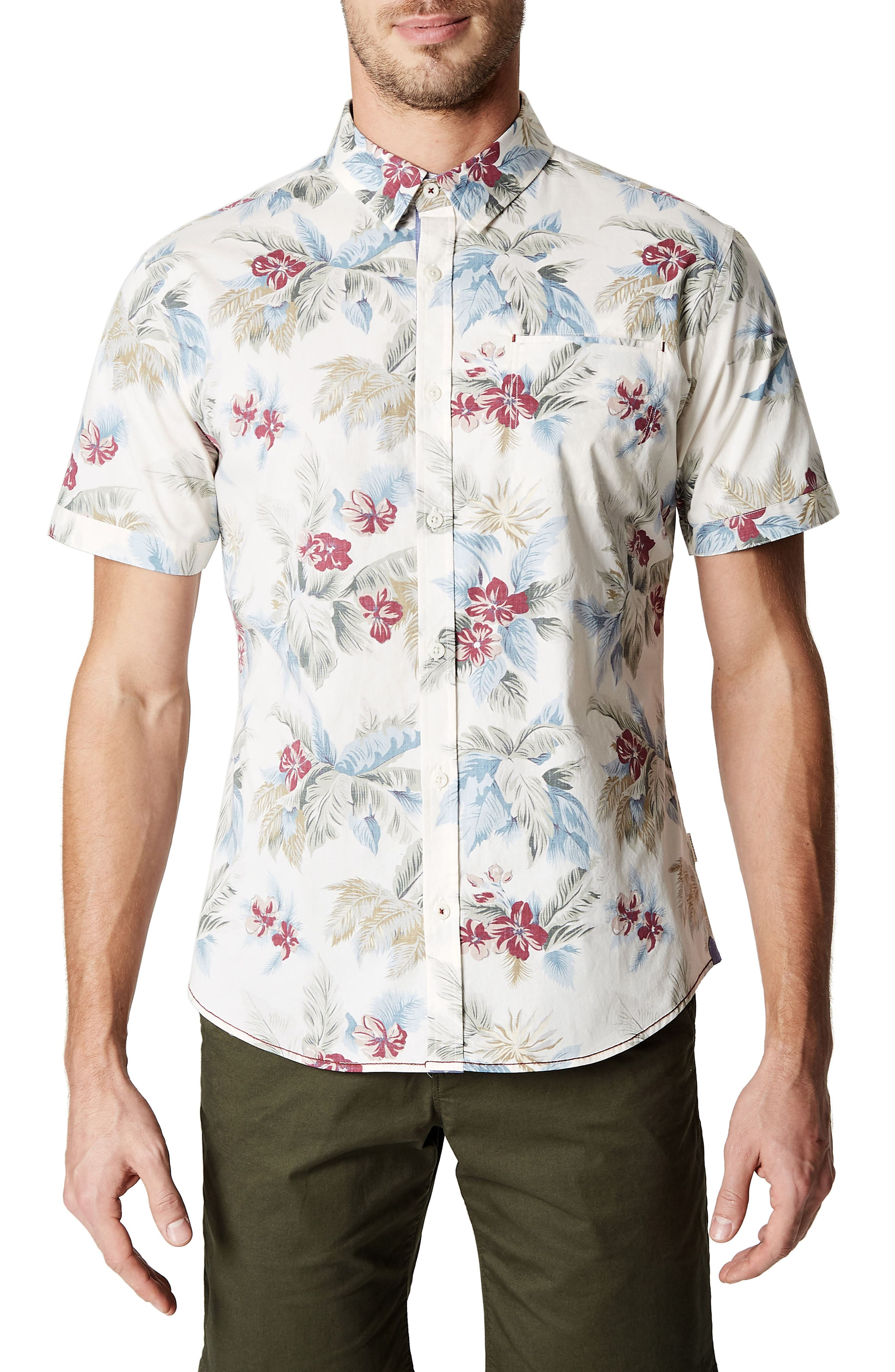 Island in the Sun Trim Fit Short Sleeve Sport Shirt,                         Main,                         color, Natural