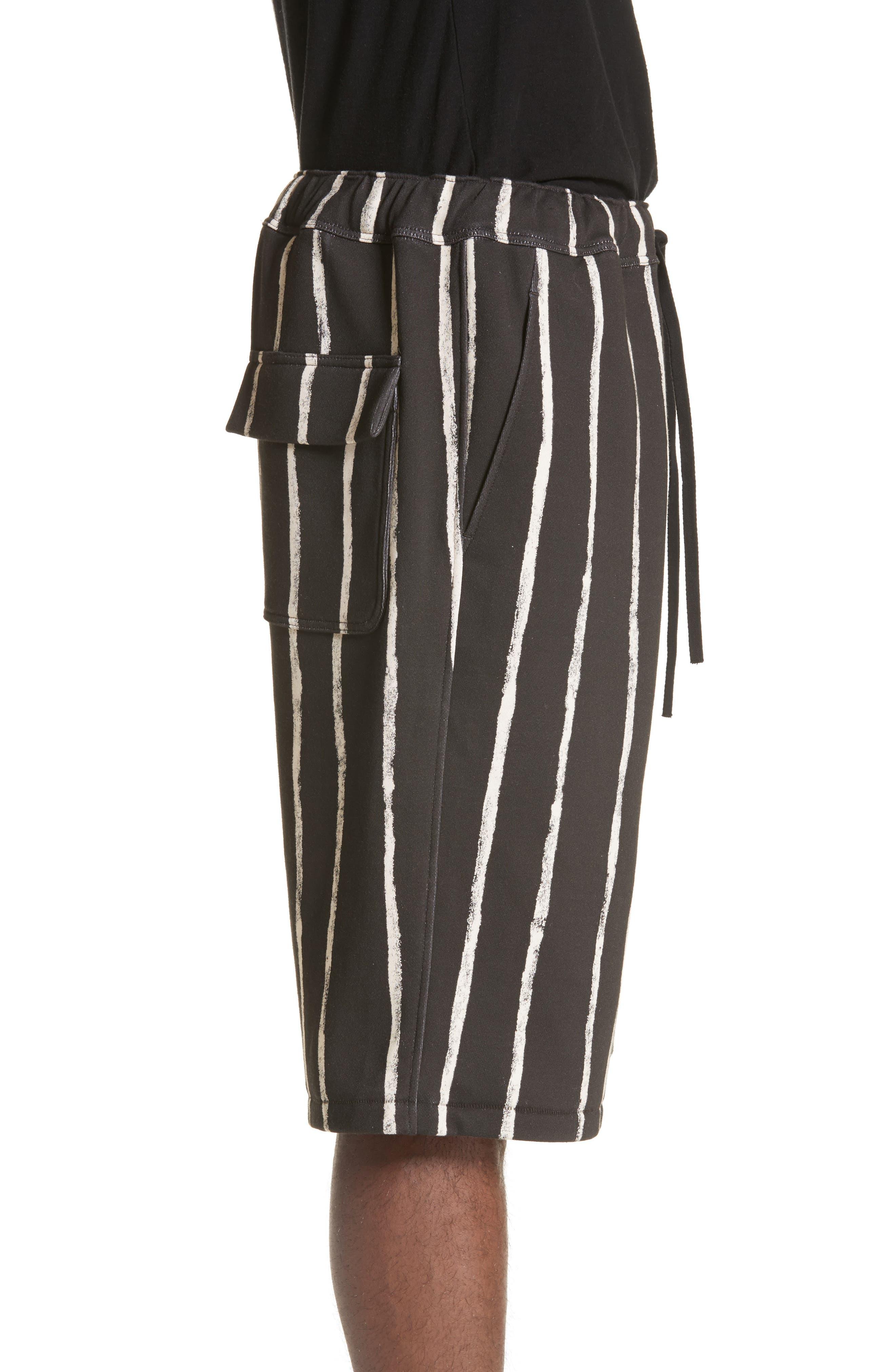Striped Paint Shorts,                             Alternate thumbnail 3, color,                             Black/ White