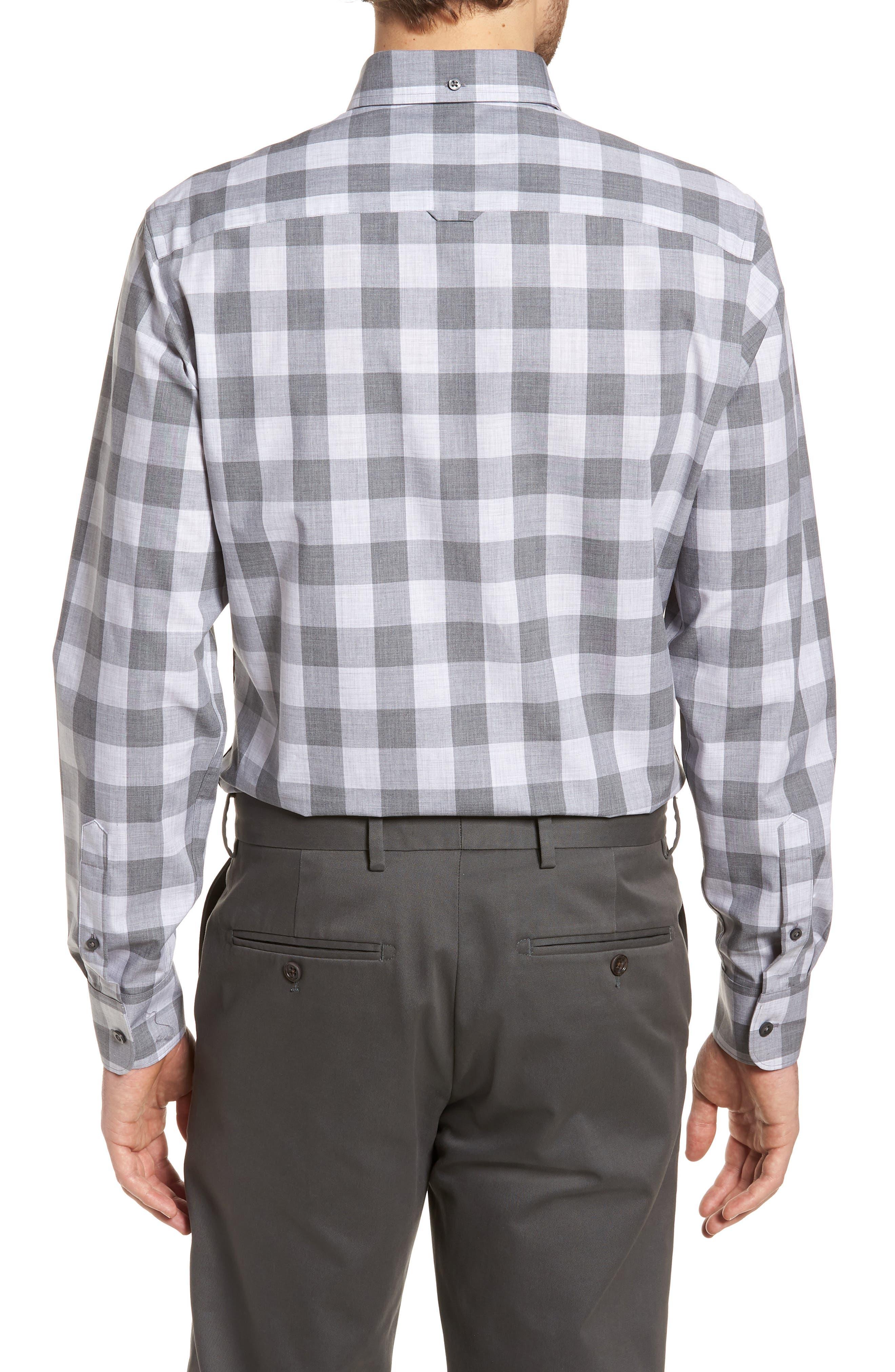 Trim Fit Check Sport Shirt,                             Alternate thumbnail 3, color,                             Grey Shade Buffalo