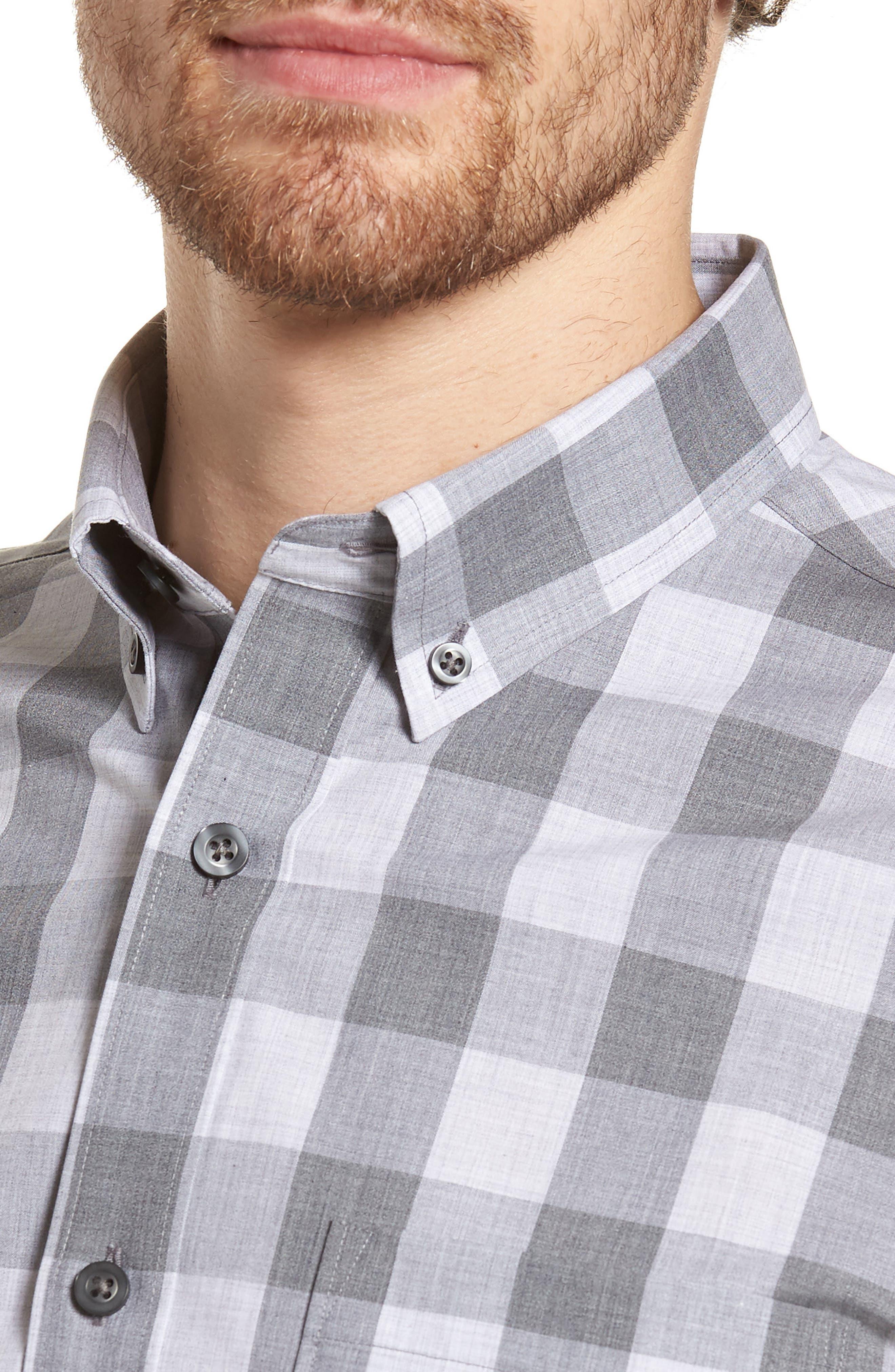 Trim Fit Check Sport Shirt,                             Alternate thumbnail 2, color,                             Grey Shade Buffalo