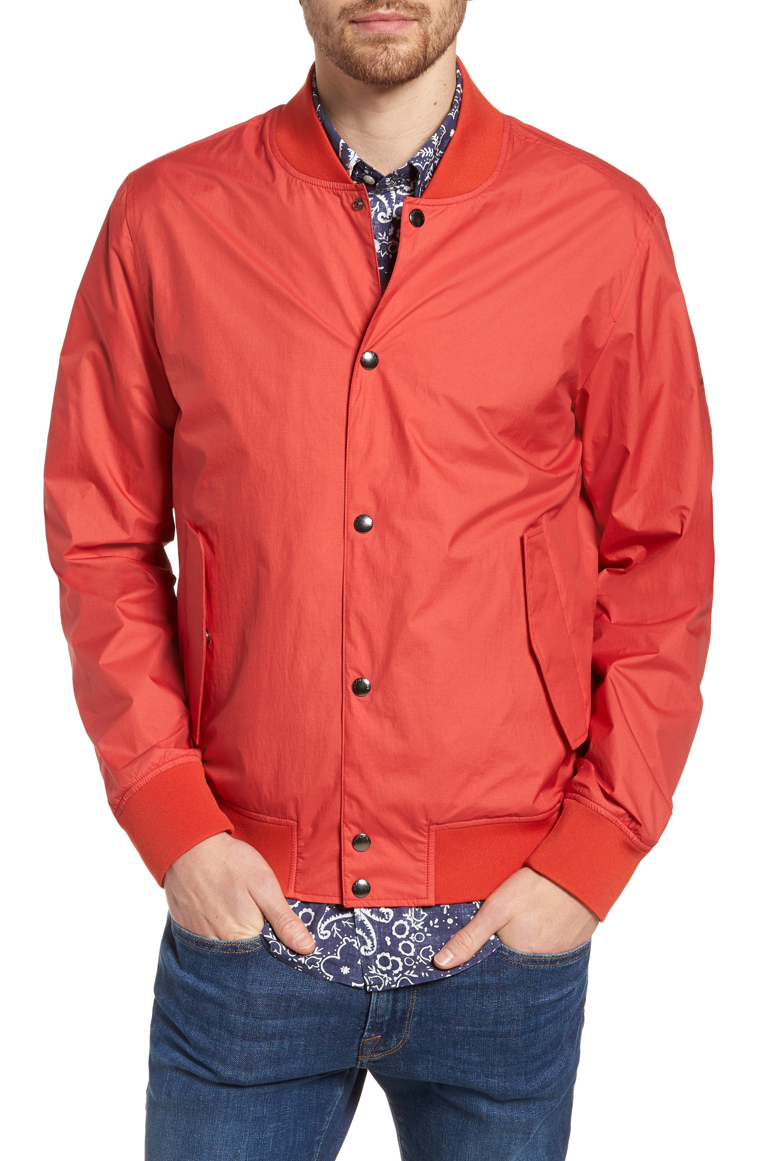 Wallaby Bomber Jacket,                             Alternate thumbnail 4, color,                             Aurora Red