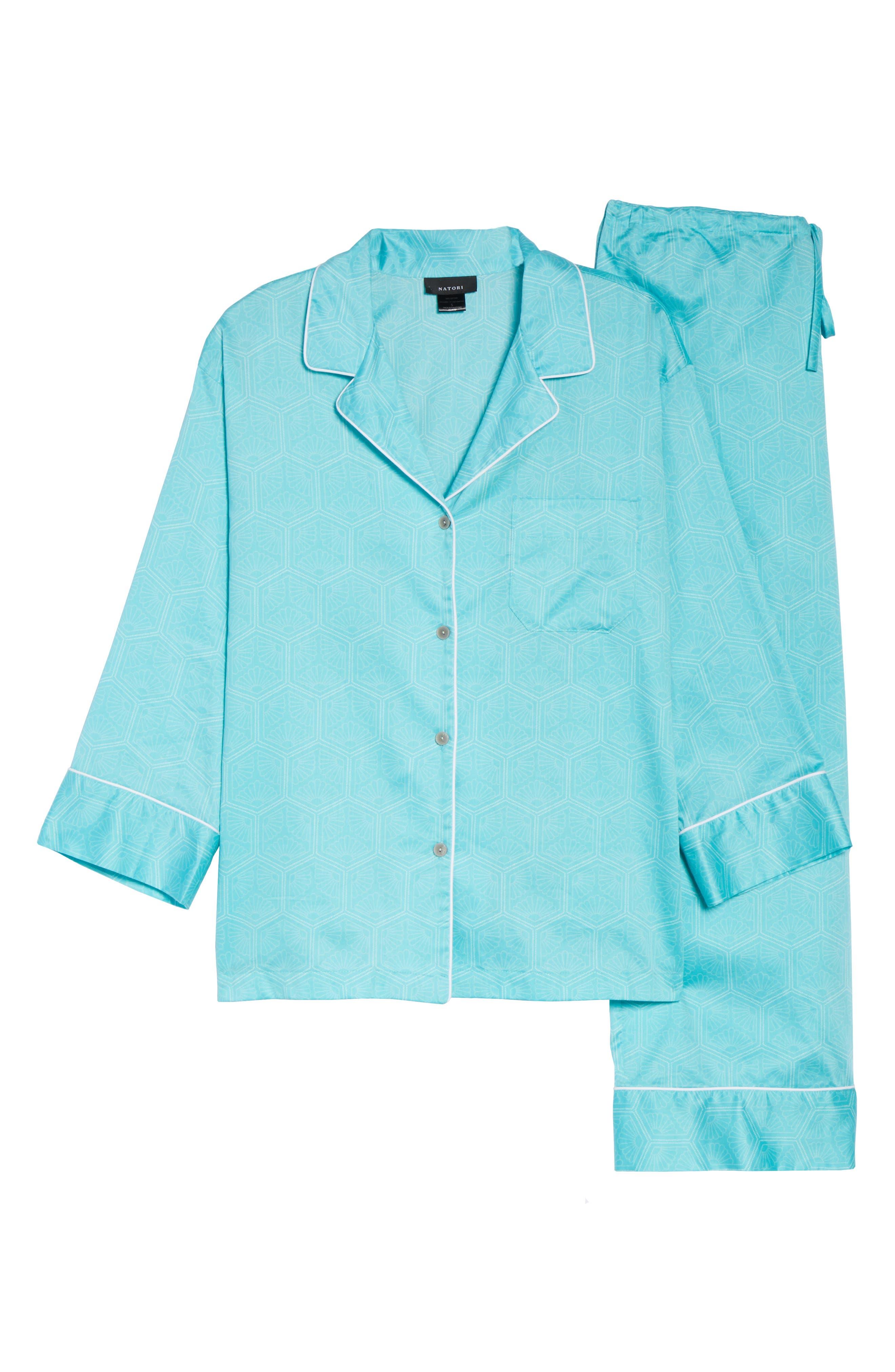 Fan Print Cotton Pajamas,                             Alternate thumbnail 4, color,                             Sea Glass