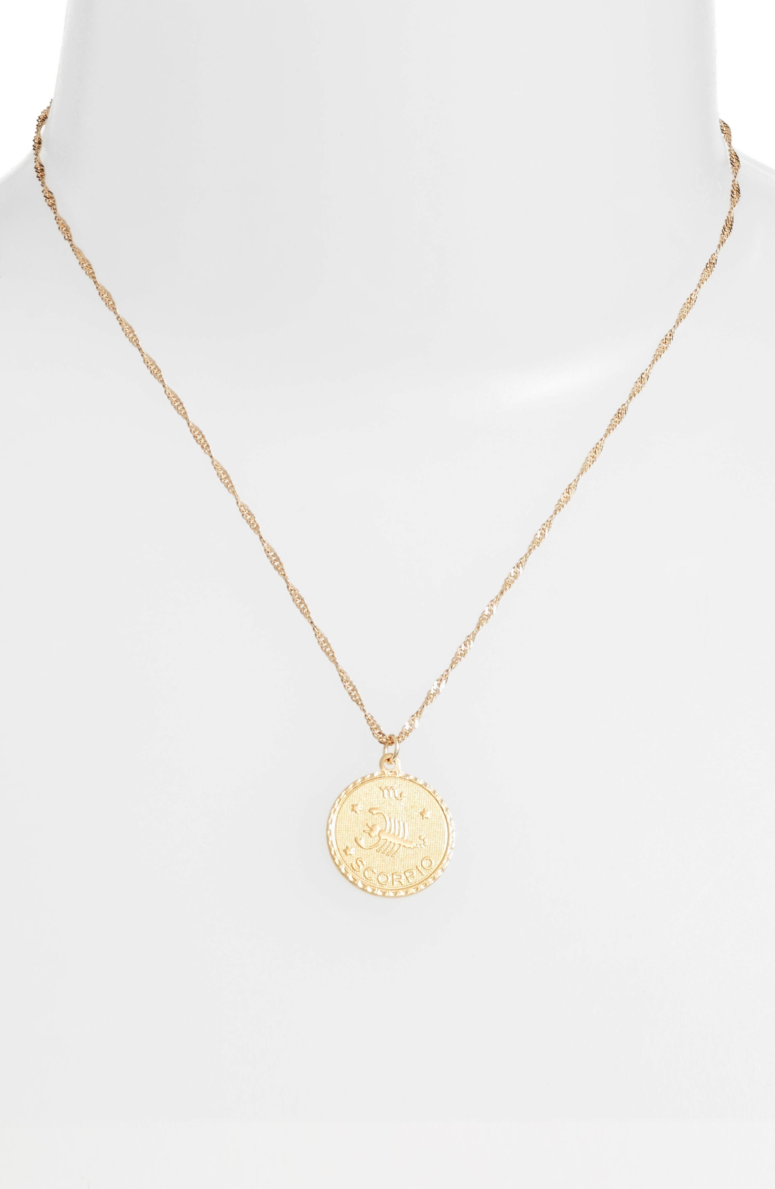 Jewelry Ascending Zodiac Medallion Necklace,                             Alternate thumbnail 2, color,                             Scorpio
