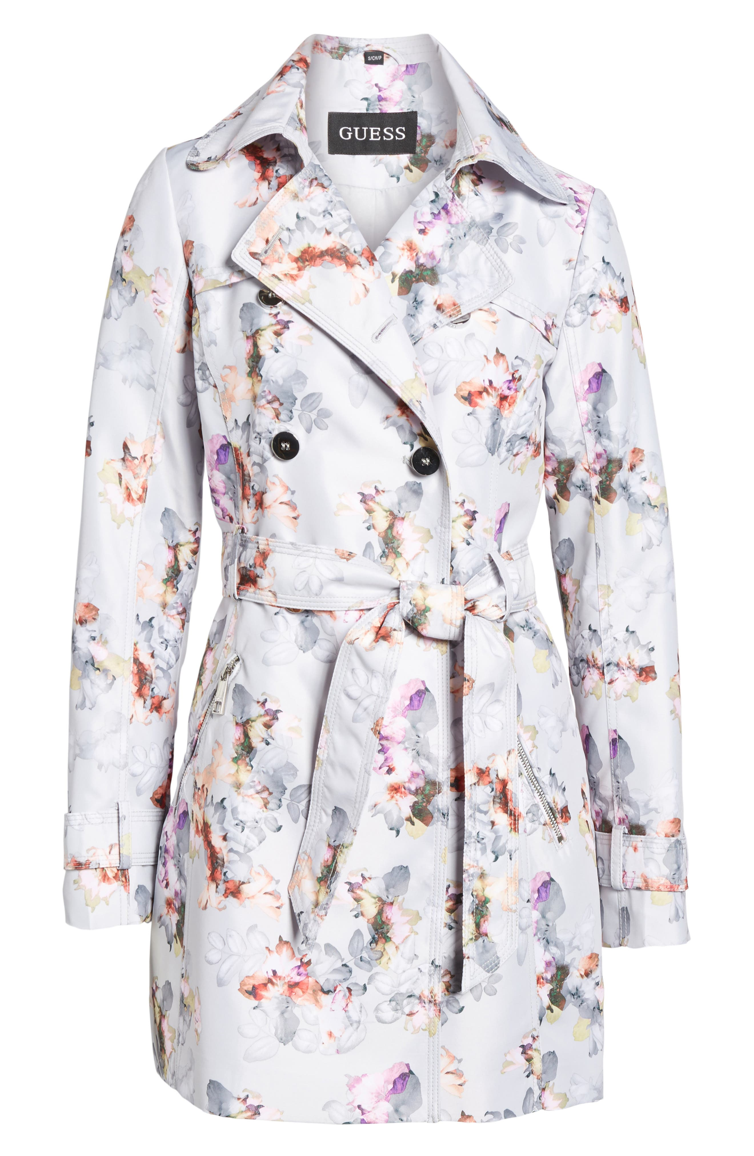 Double Breasted Floral Trench Coat,                             Alternate thumbnail 6, color,                             Floral