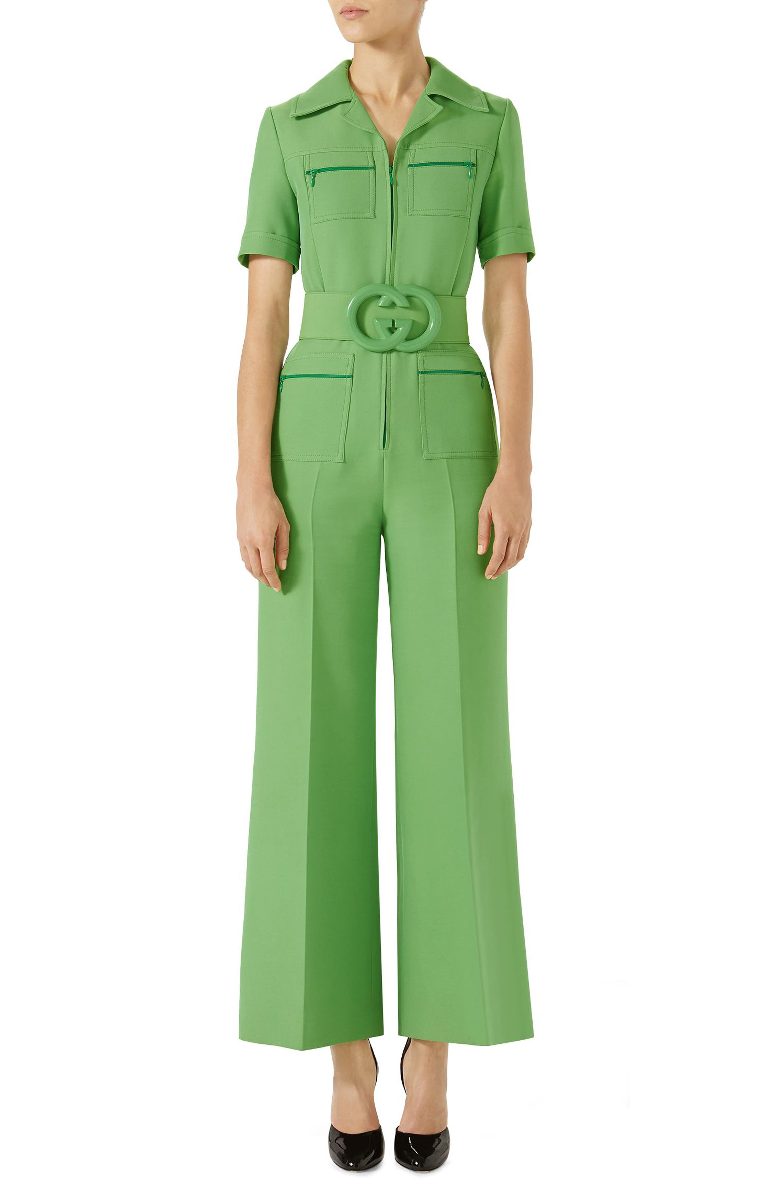 Gucci Belted Wide Leg Wool & Silk Cady Jumpsuit