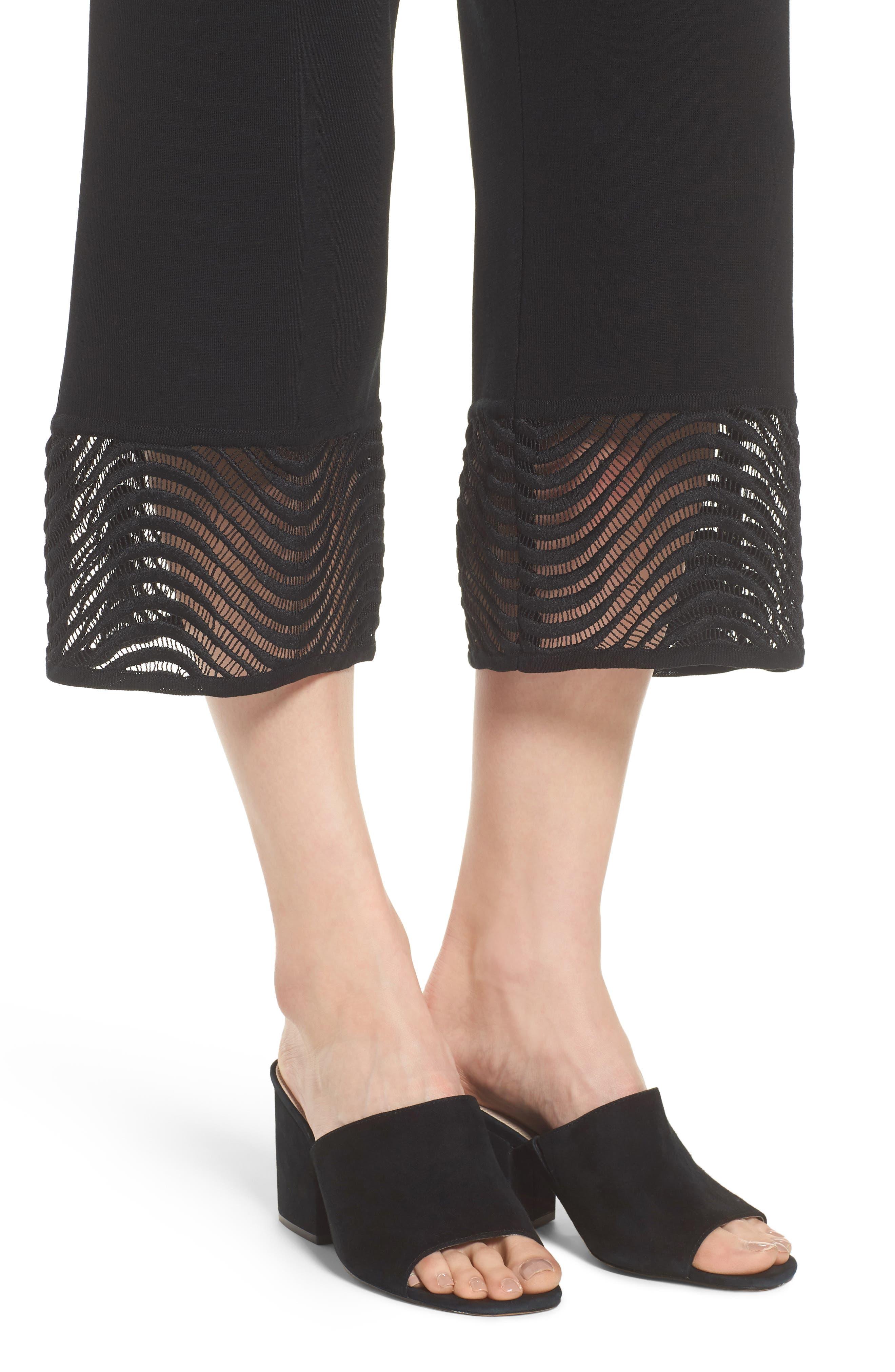 Crop Knit Pants,                             Alternate thumbnail 4, color,                             Black