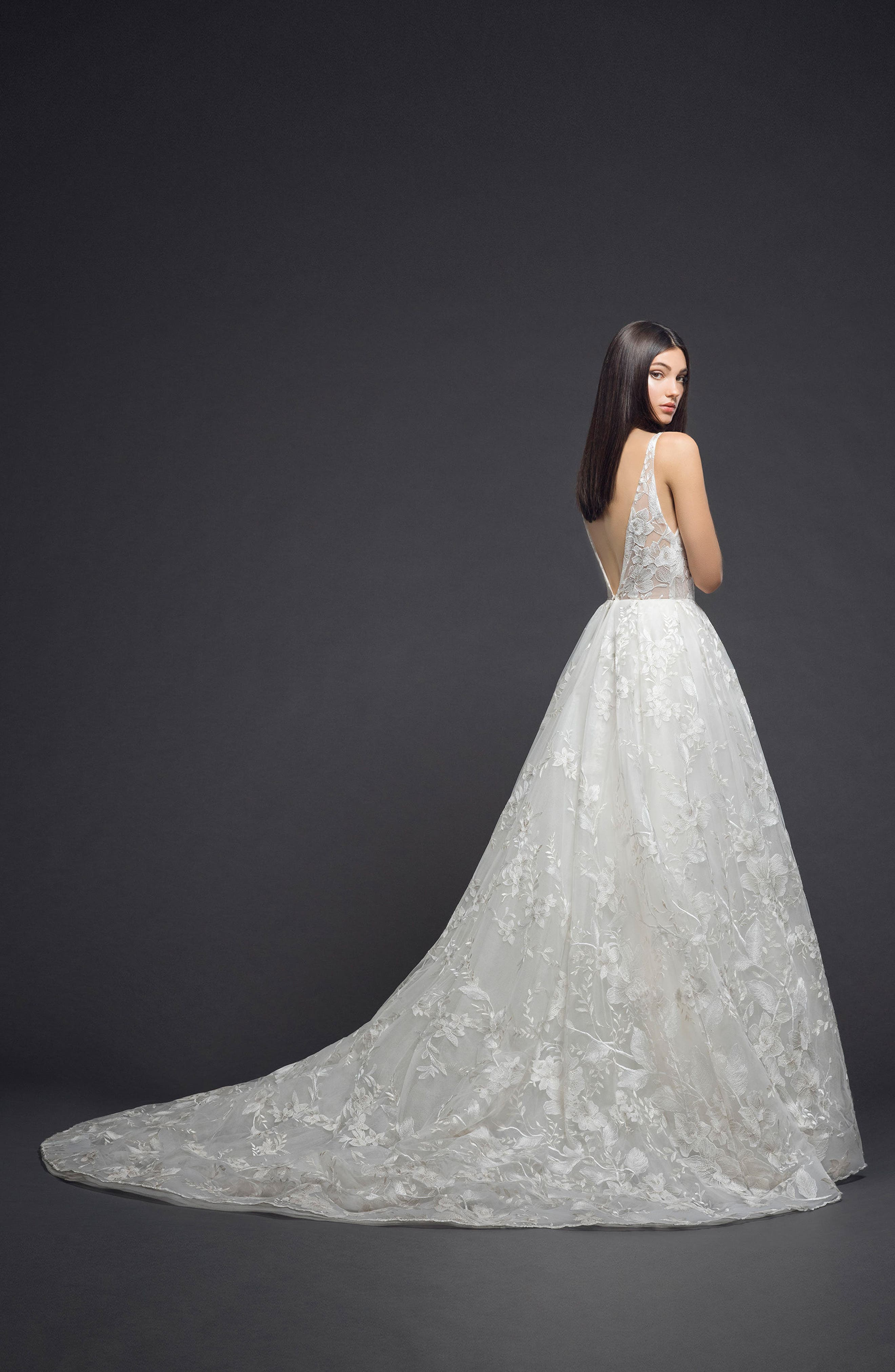 Floral Embroidered Tulle Gown,                             Alternate thumbnail 2, color,                             Ivory Nude