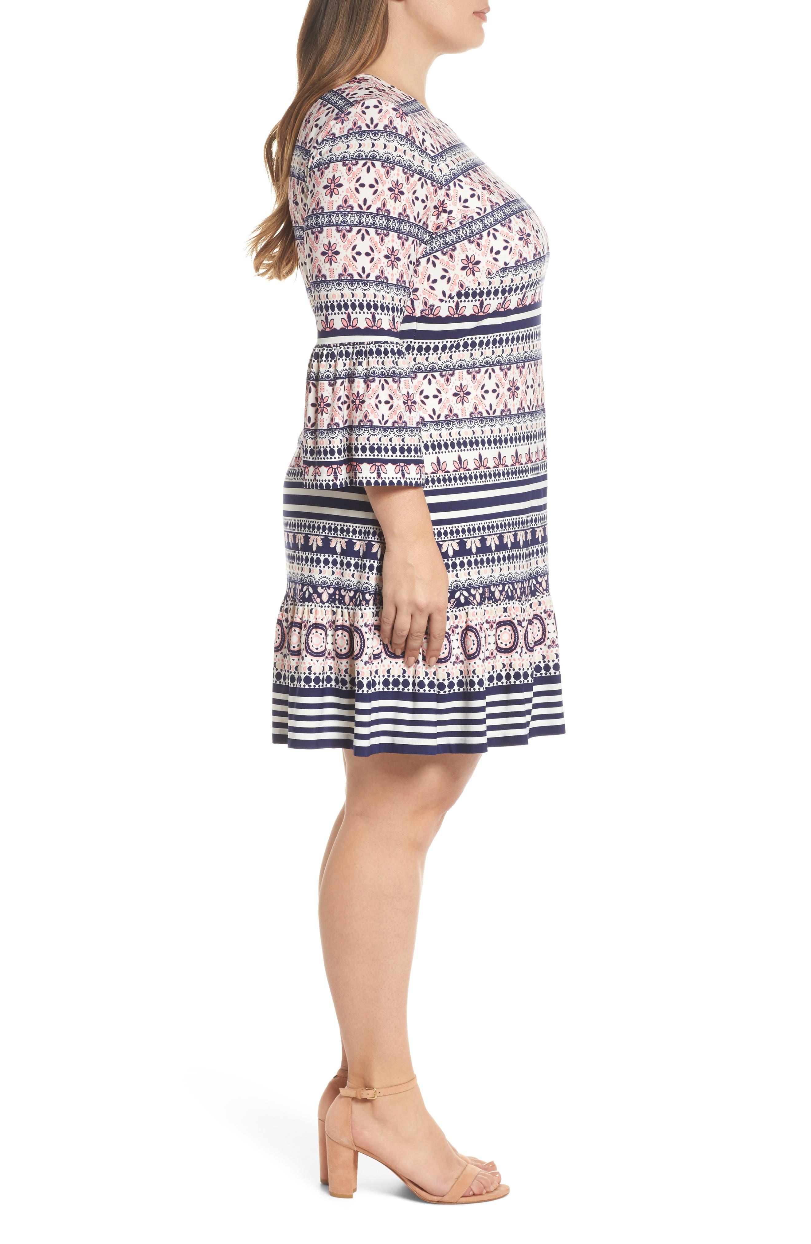 Print Fit & Flare Dress,                             Alternate thumbnail 3, color,                             Pink/ Ivory/ Blue