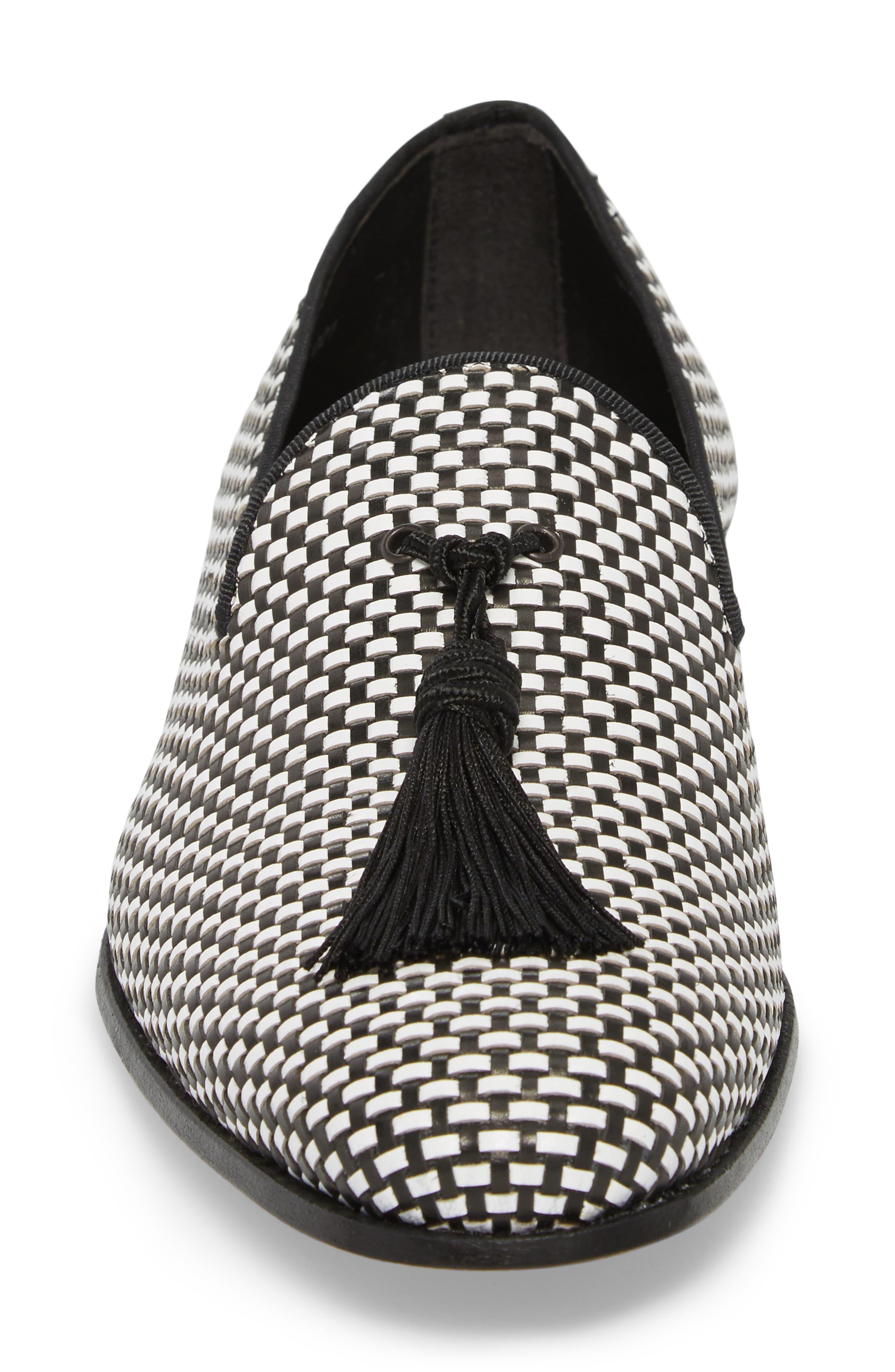 Egeo Tassel Loafer,                             Alternate thumbnail 4, color,                             Black/ White Leather