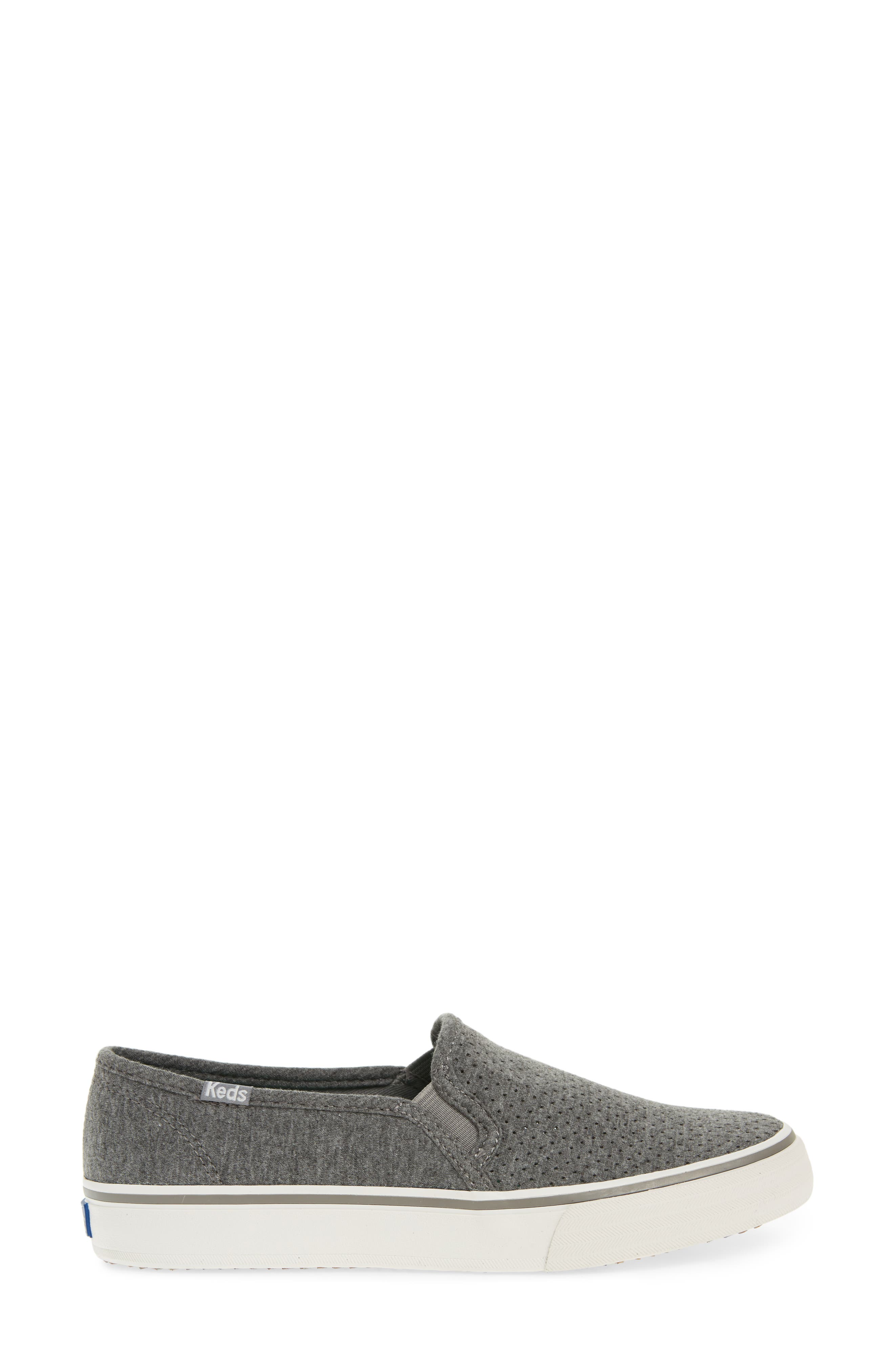 Double Decker Perforated Slip-On Sneaker,                             Alternate thumbnail 3, color,                             Charcoal