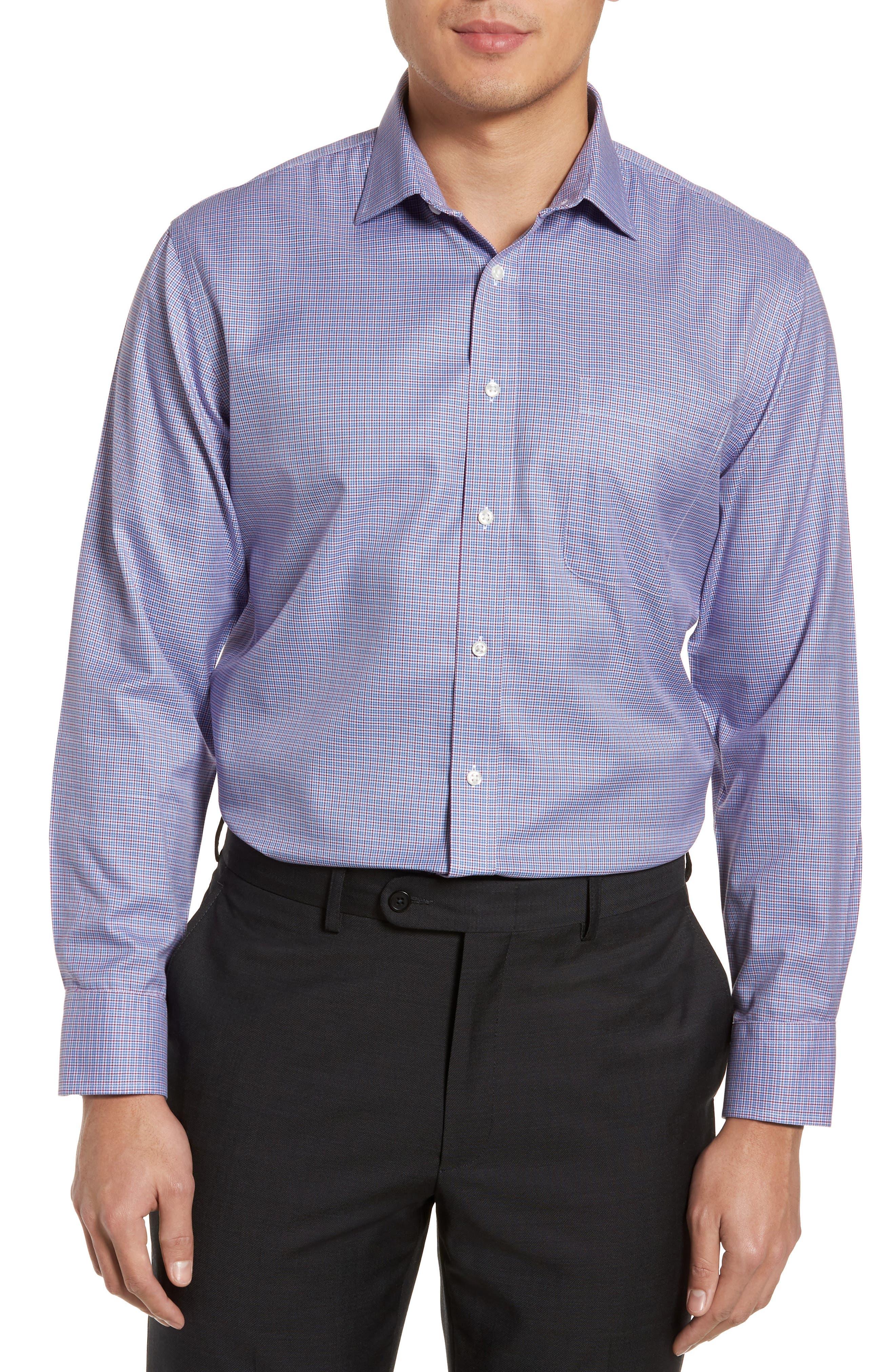 Smartcare<sup>™</sup> Trim Fit Check Dress Shirt,                         Main,                         color, Red Ruby