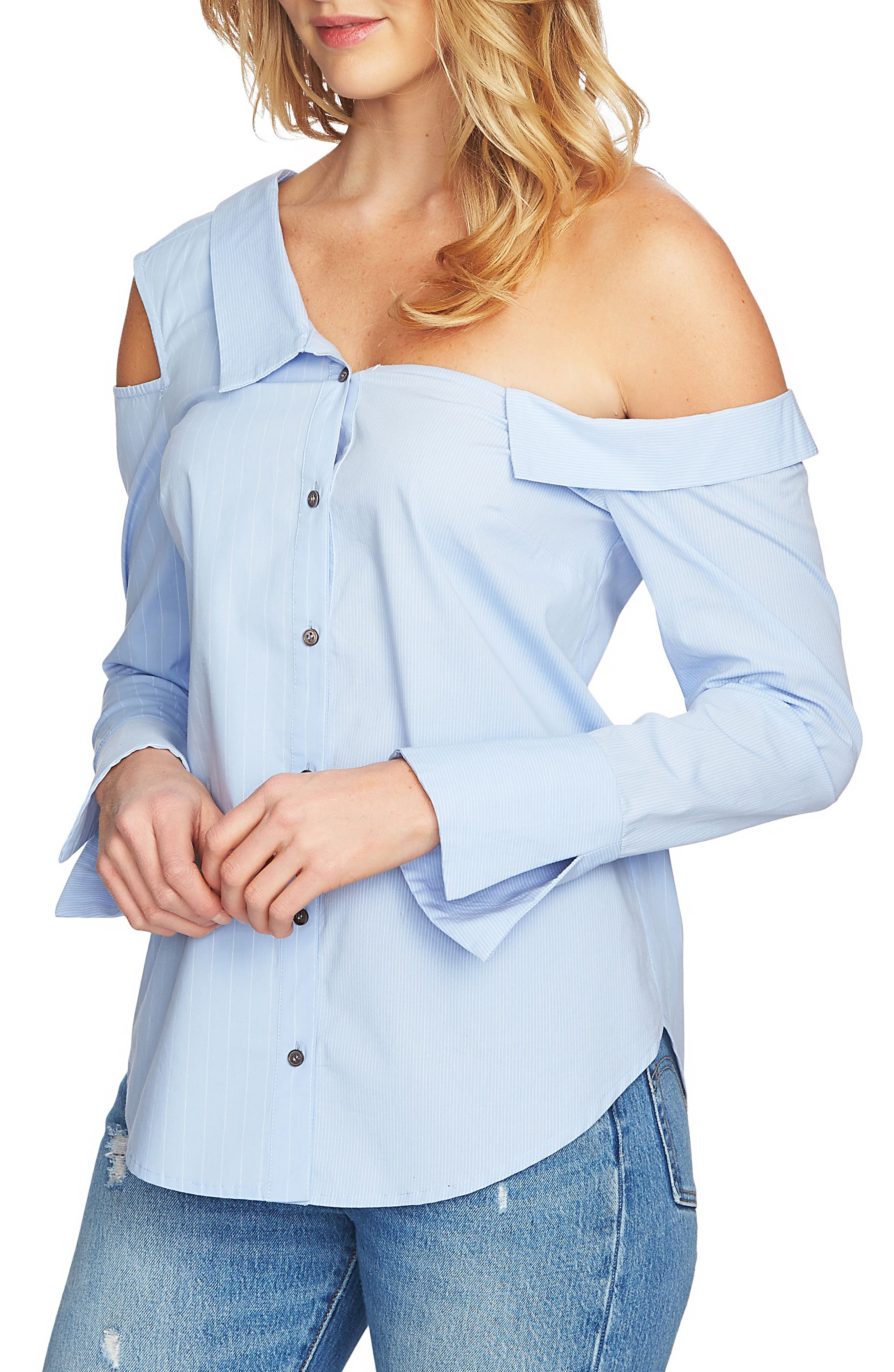 Mixed Stripe One-Shoulder Top,                             Alternate thumbnail 3, color,                             Blue Pond