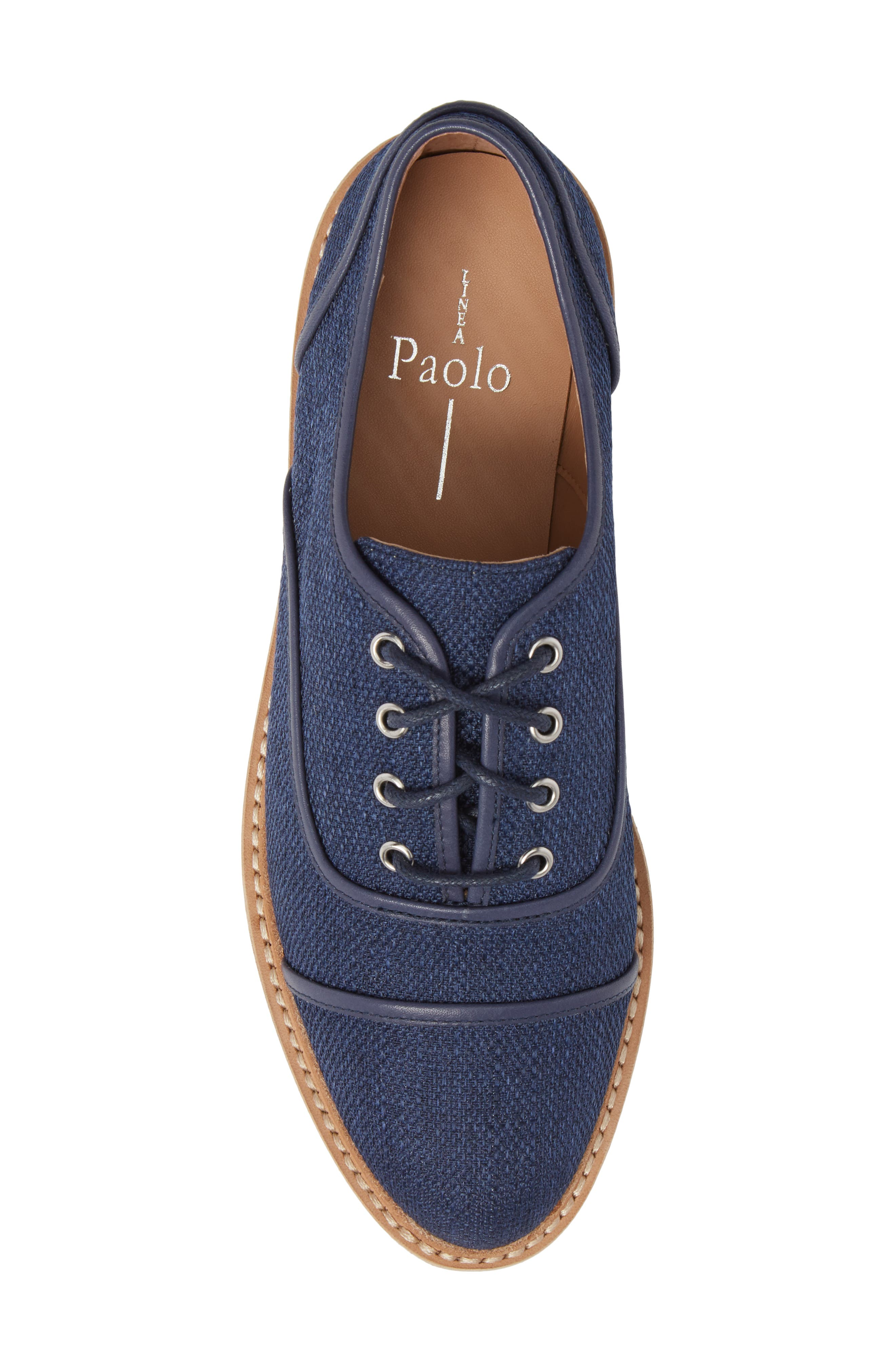 Mavis Cap Toe Platform Sneaker,                             Alternate thumbnail 5, color,                             Blue Fabric
