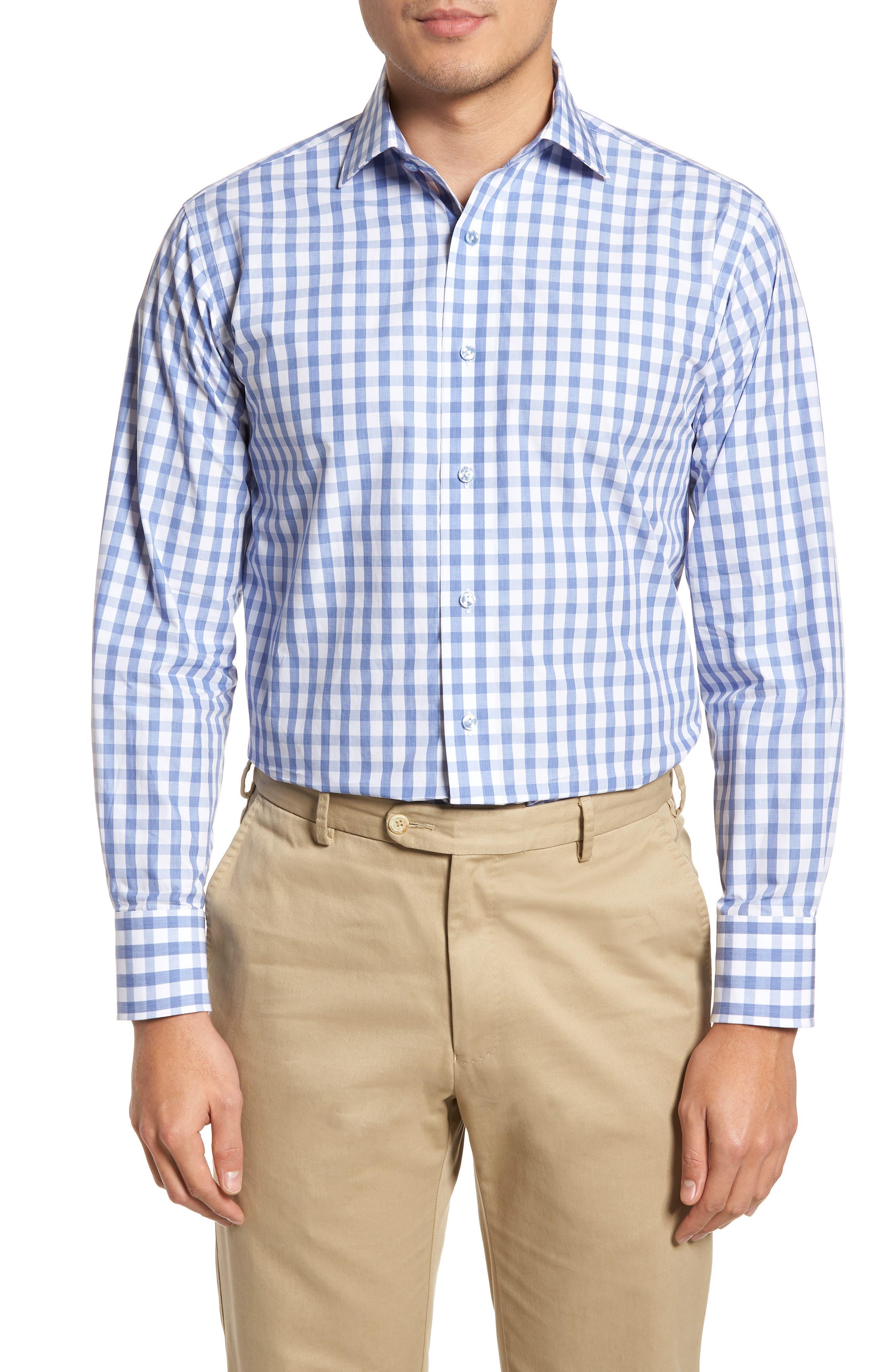 Trim Fit Gingham Dress Shirt,                             Main thumbnail 1, color,                             Light Blue