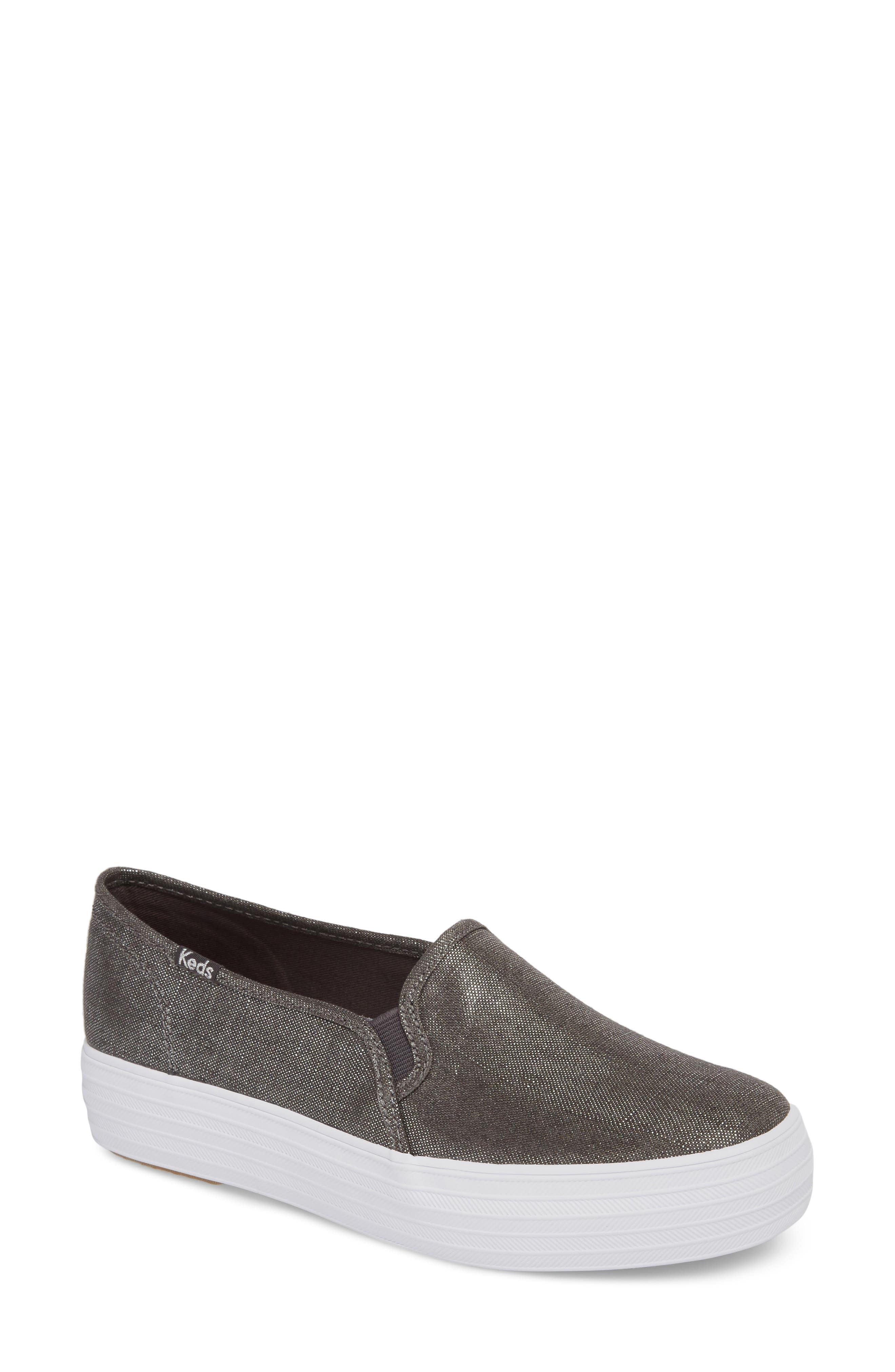 Triple Decker Metallic Linen Slip-On Sneaker,                         Main,                         color, Gunmetal