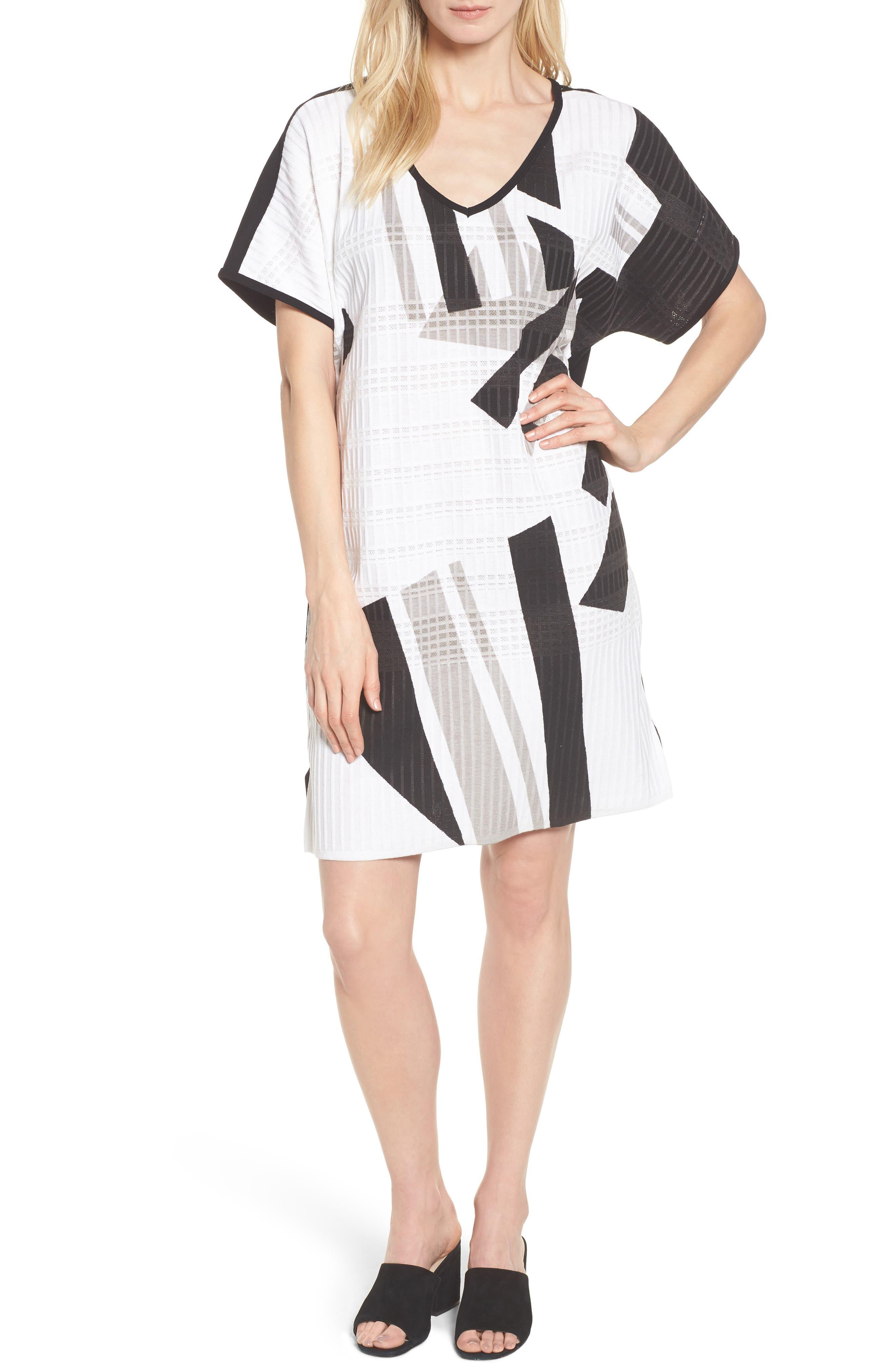 Geometric Jacquard Tunic Dress,                             Main thumbnail 1, color,                             White/ Almond Beige/ Black