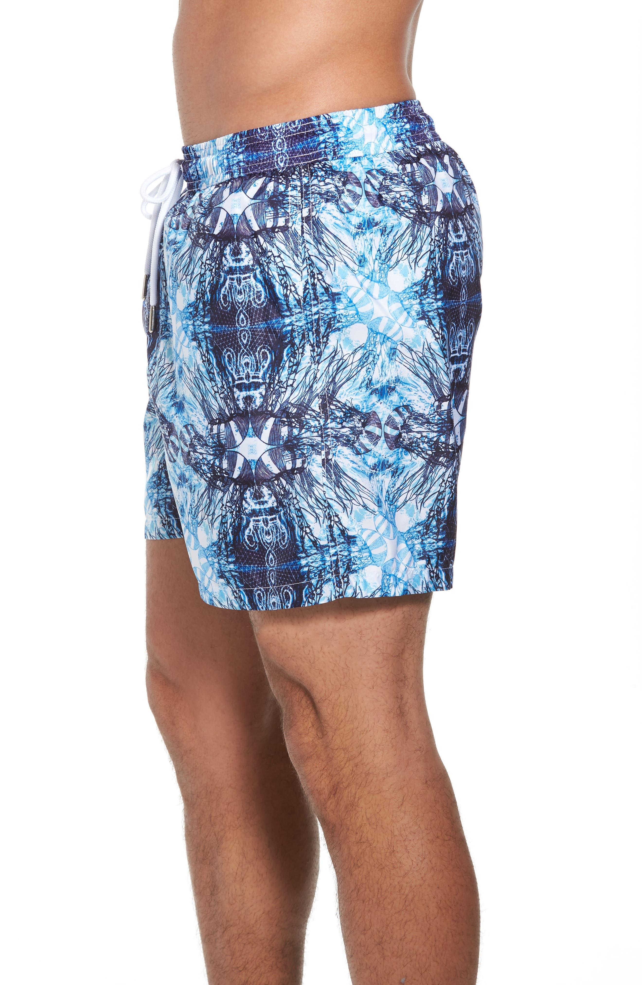 Trim Fit Swim Shorts,                             Alternate thumbnail 3, color,                             Light Blue Jelly Fish