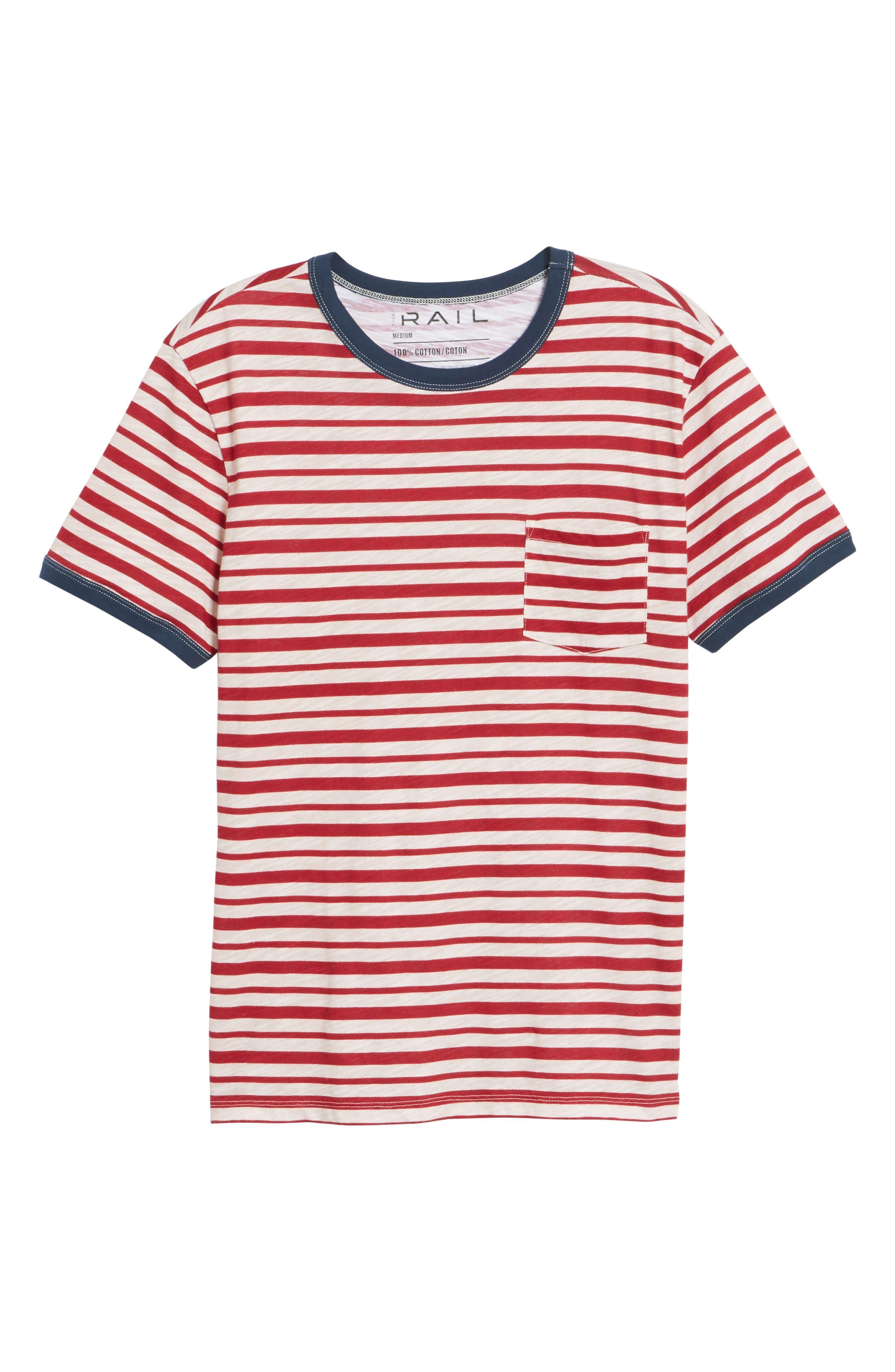 Slub Stripe Ringer T-Shirt,                             Main thumbnail 1, color,                             Ivory Red Stripe