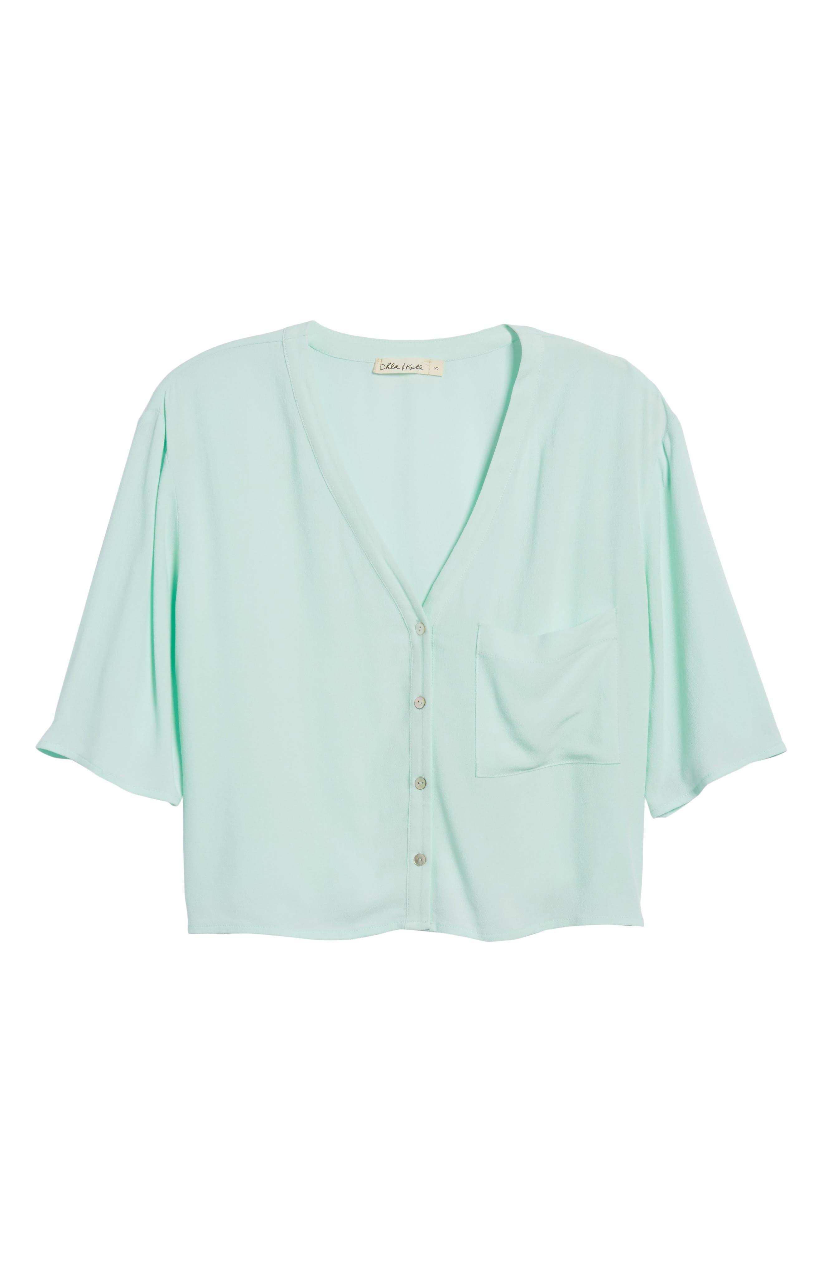 Crepe Button Front Shirt,                             Alternate thumbnail 7, color,                             Mint