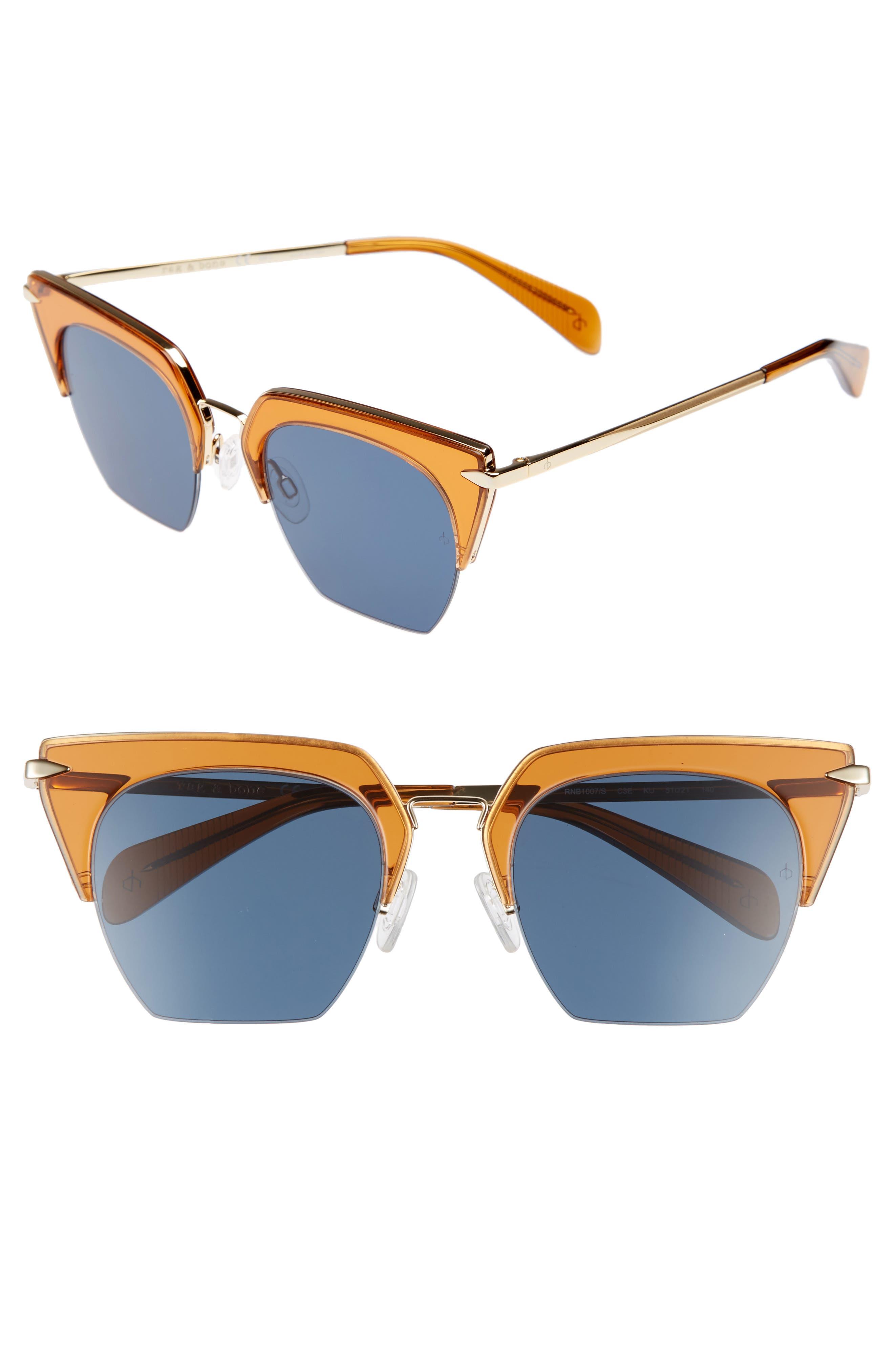 51mm Cat Eye Sunglasses,                         Main,                         color, Orange/ Gold
