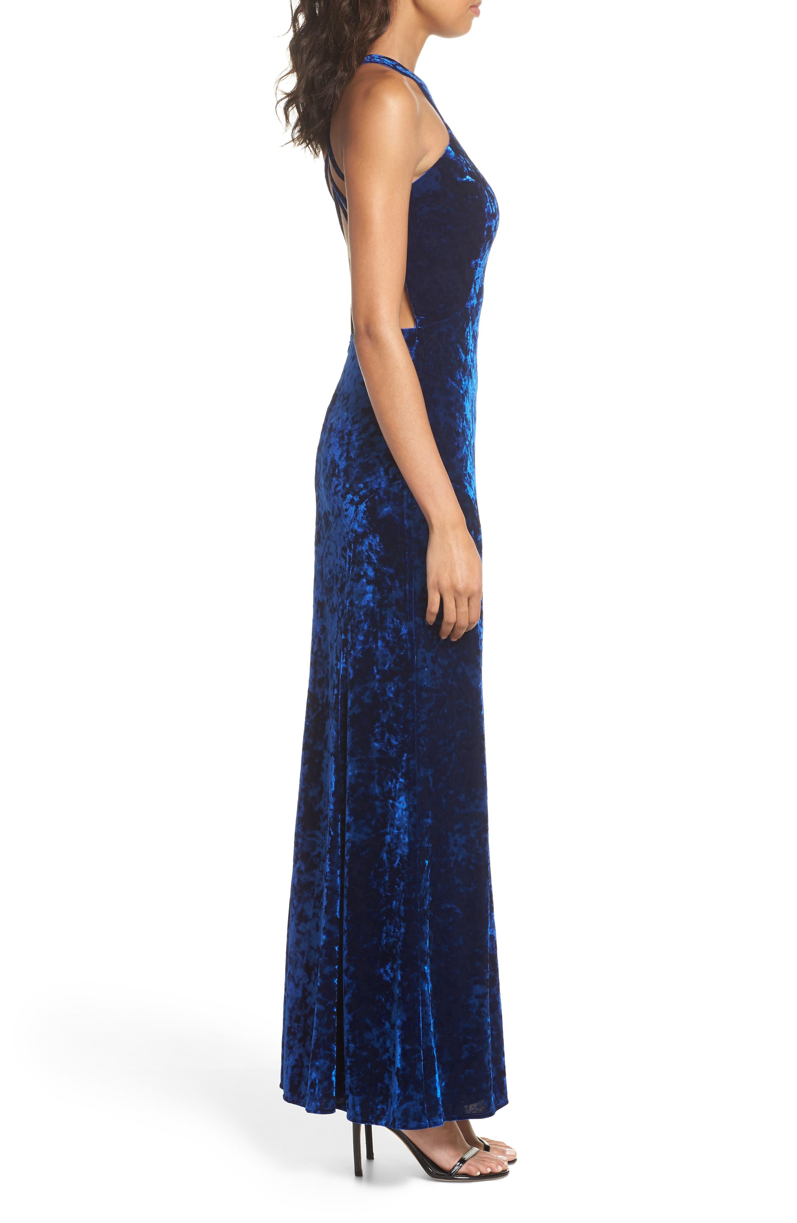 Cleo Strappy Back Velvet Gown,                             Alternate thumbnail 3, color,                             Sapphire
