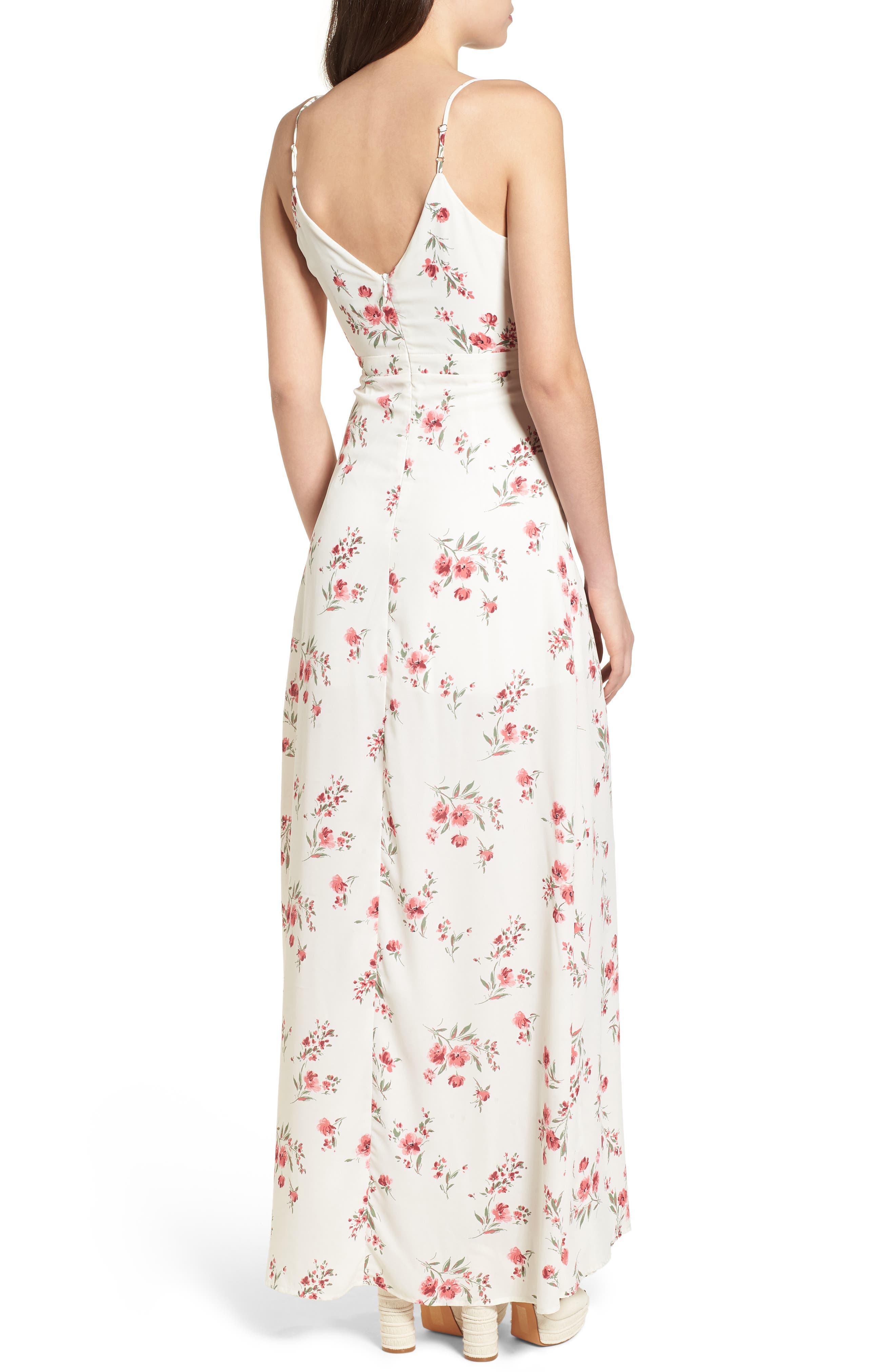 Tie Front Maxi Dress,                             Alternate thumbnail 3, color,                             Ivory Floral