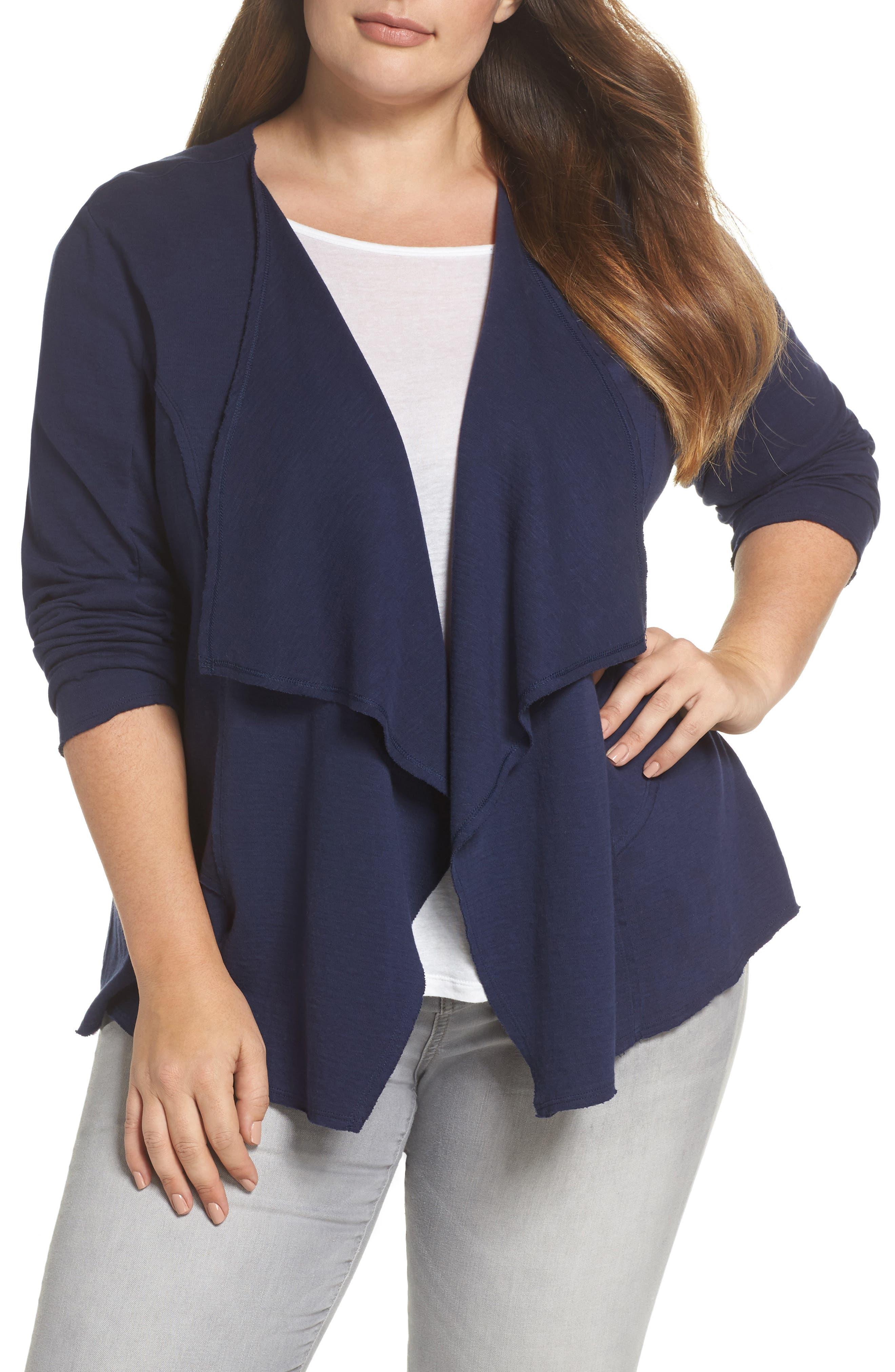Caslon® Knit Drape Jacket (Plus Size)