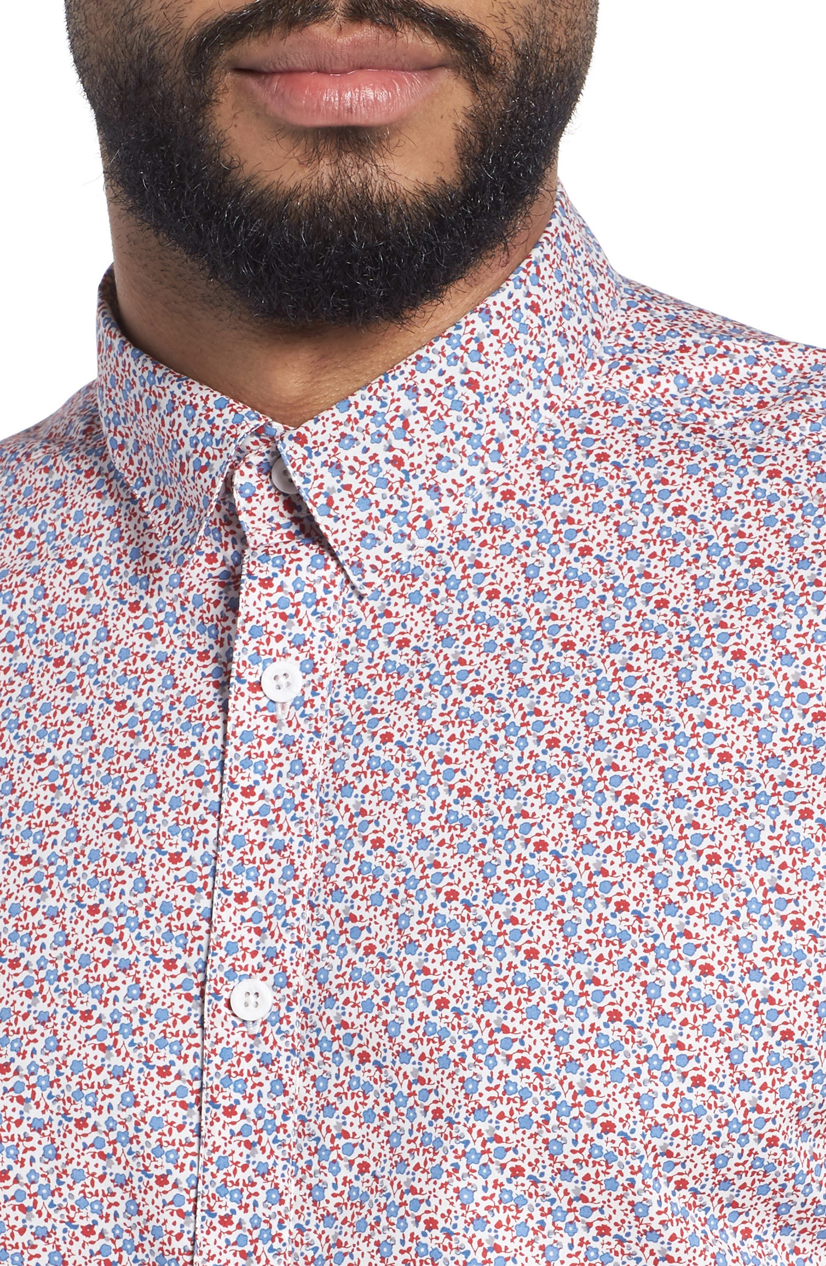 Slim Flit Floral Woven Shirt,                             Alternate thumbnail 4, color,                             Red White And Blue