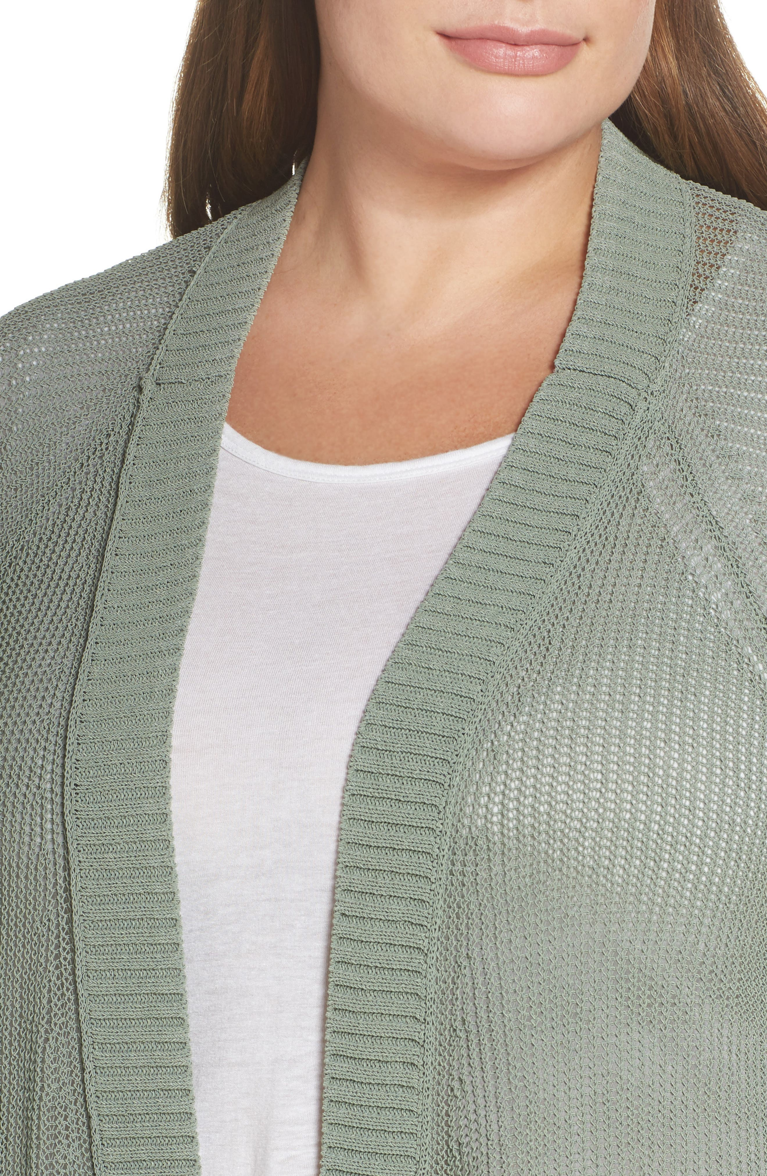 Open Stitch Cardigan,                             Alternate thumbnail 4, color,                             Green Lilypad