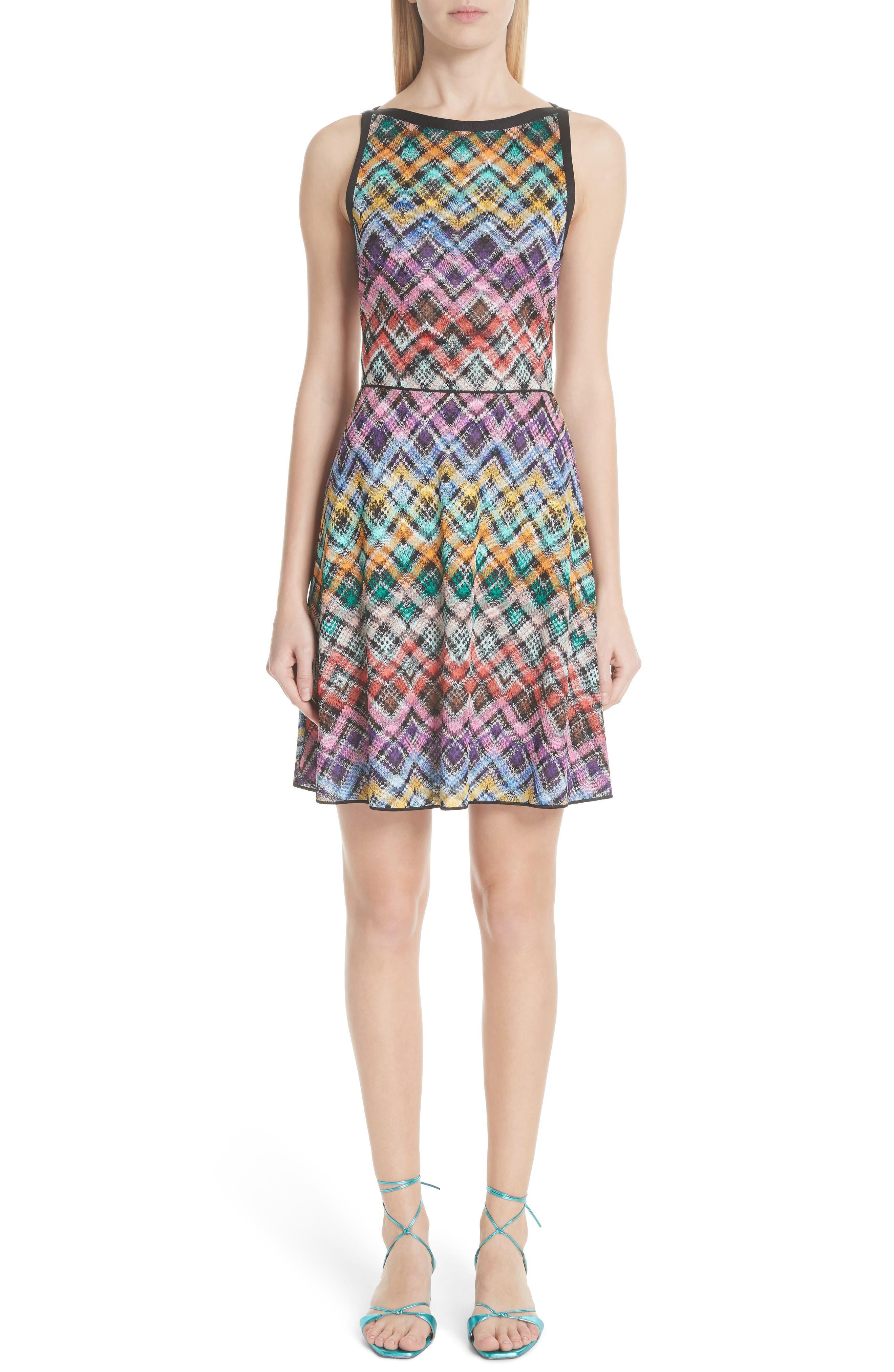 Plaid Knit Fit & Flare Dress,                             Main thumbnail 1, color,                             Multi