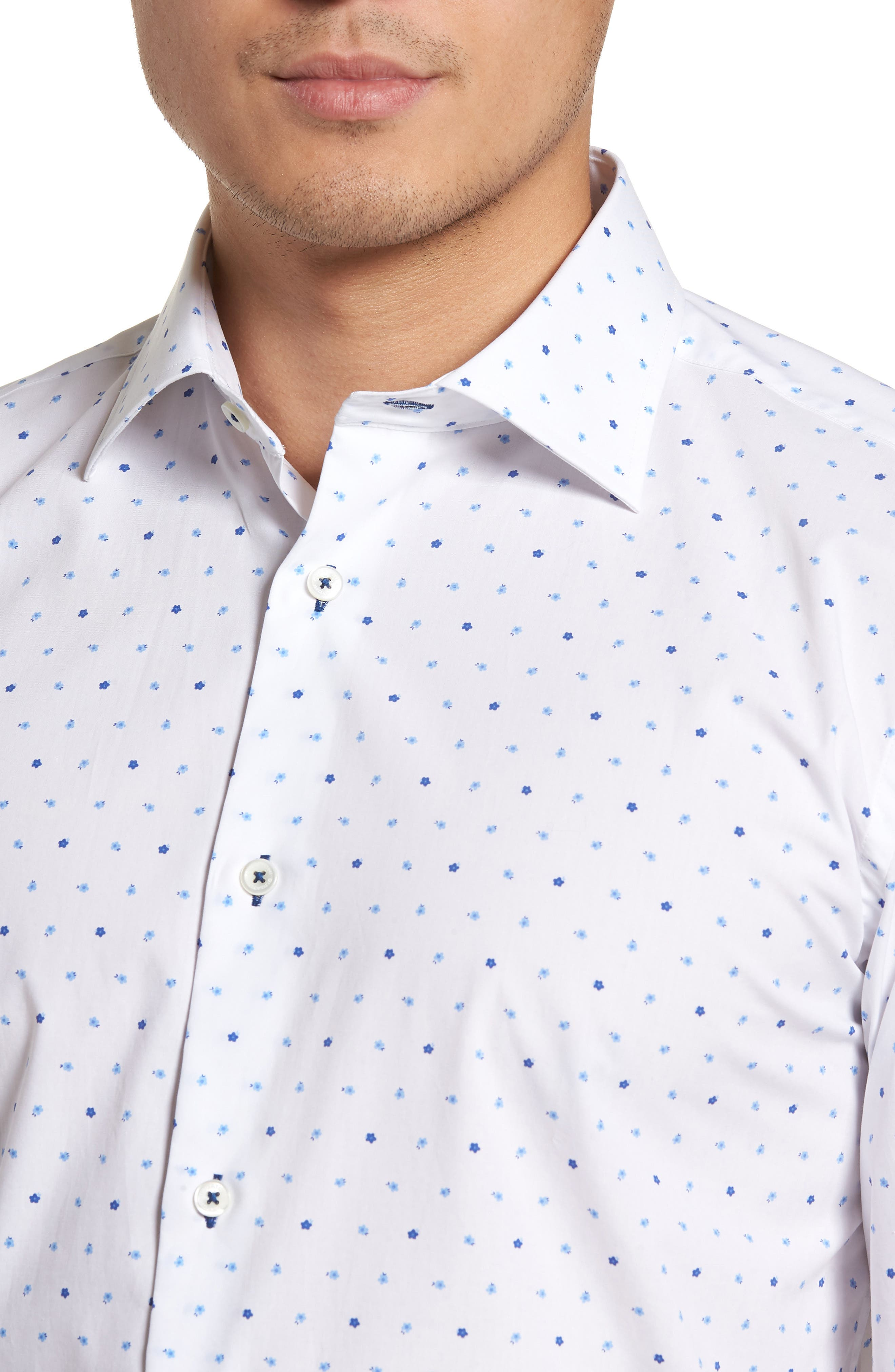 Trim Fit Print Dress Shirt,                             Alternate thumbnail 2, color,                             Classic Blue/ White