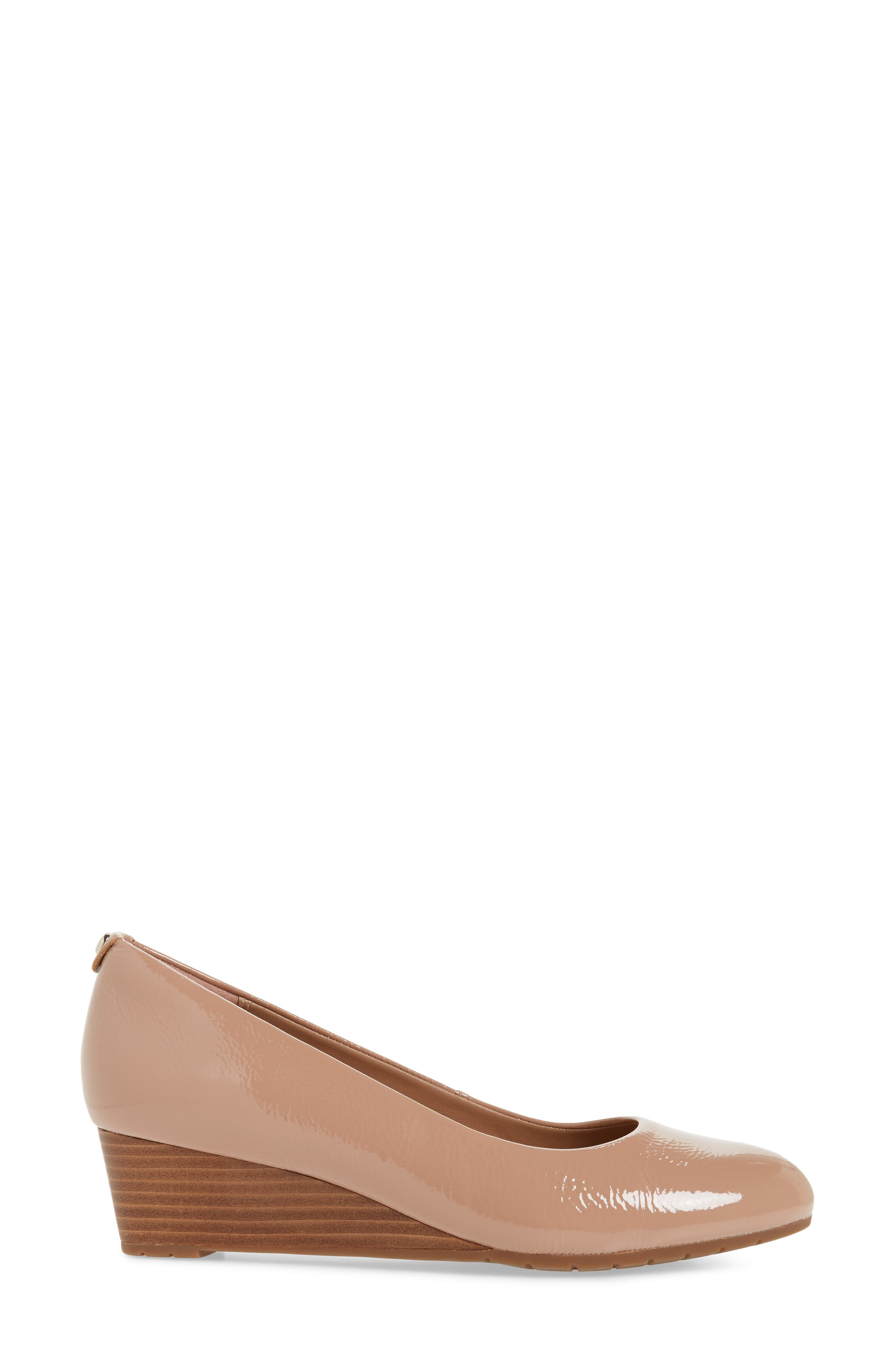 Vendra Bloom Wedge Pump,                             Alternate thumbnail 3, color,                             Beige Patent Leather