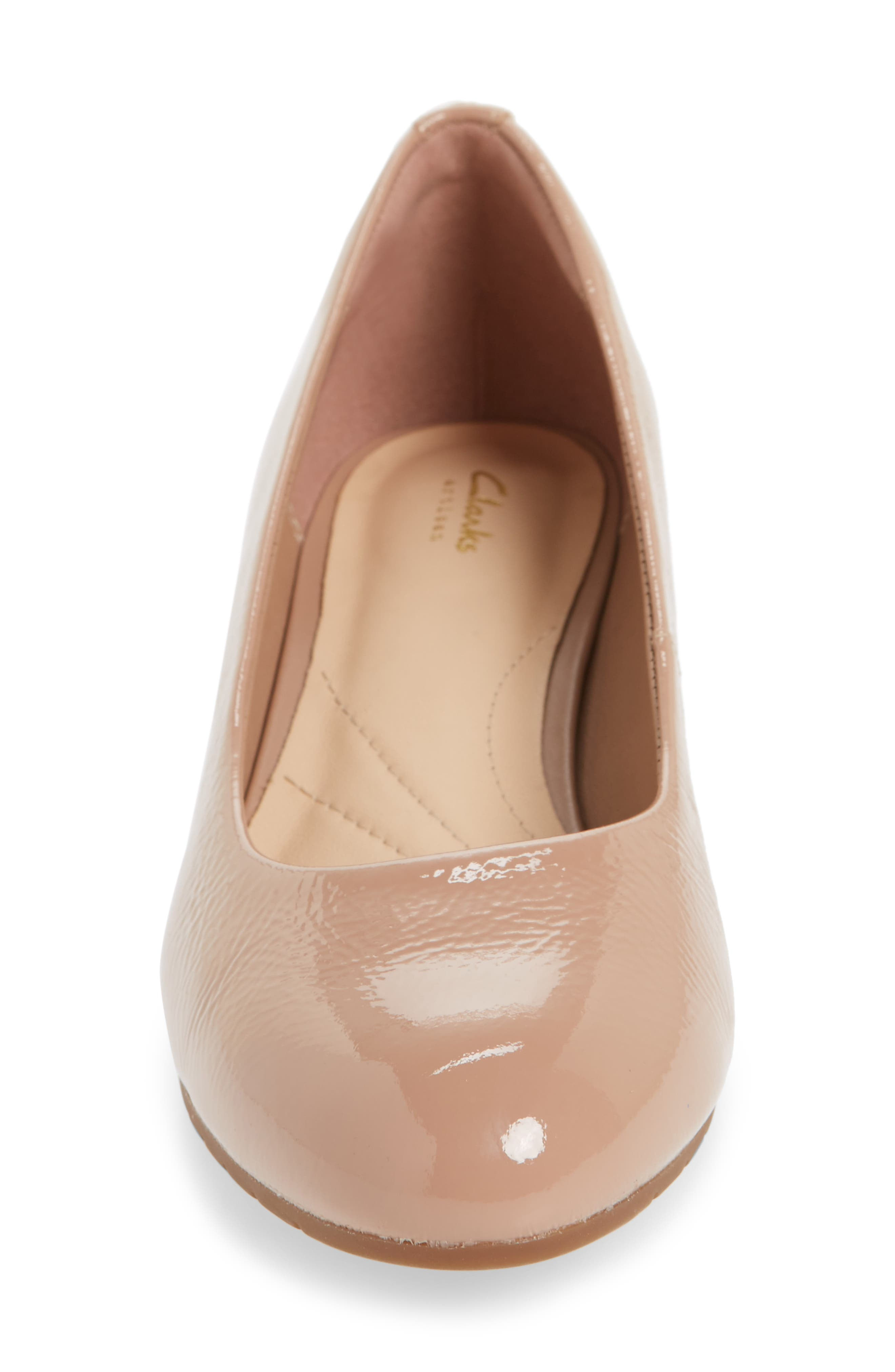 Vendra Bloom Wedge Pump,                             Alternate thumbnail 4, color,                             Beige Patent Leather